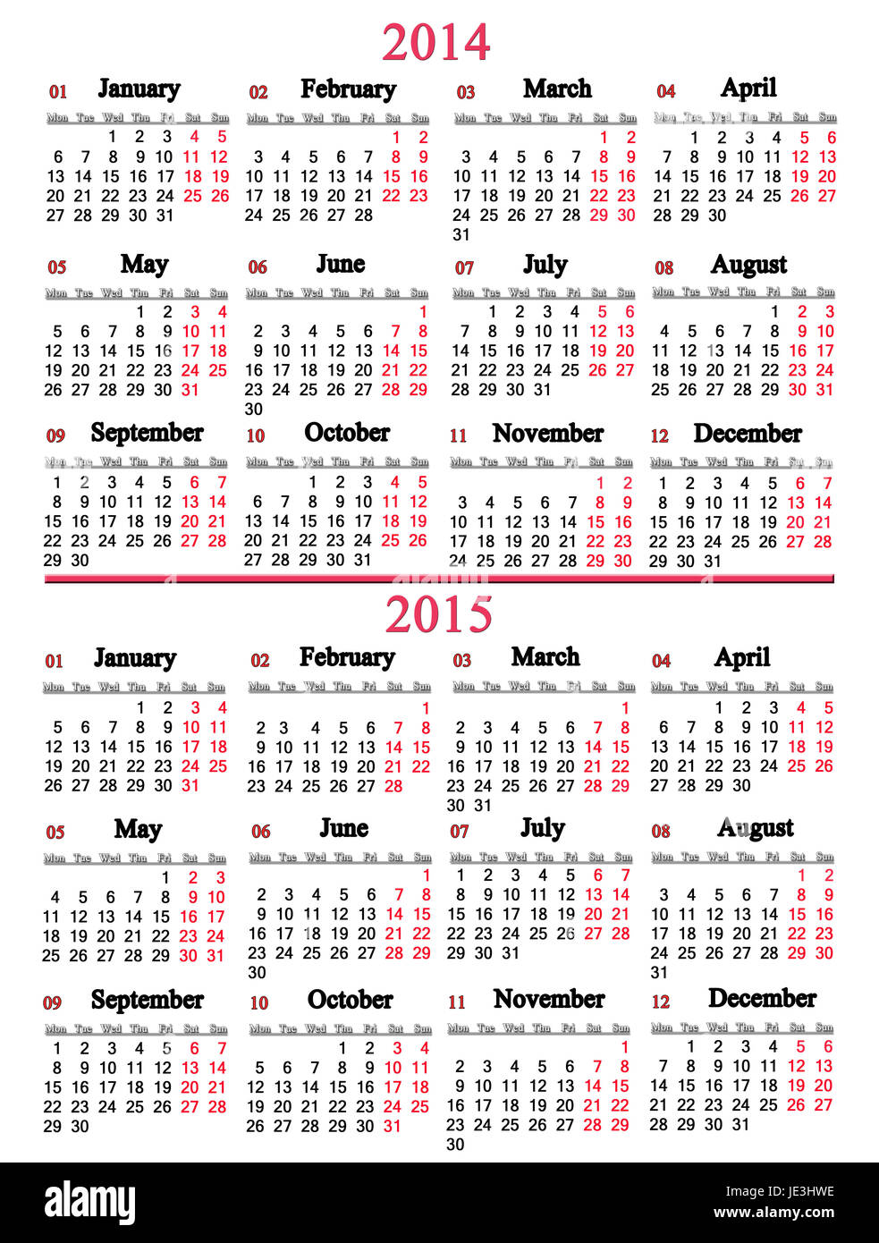 office calendar for 2014 - 2015 years on white background - Stock Image