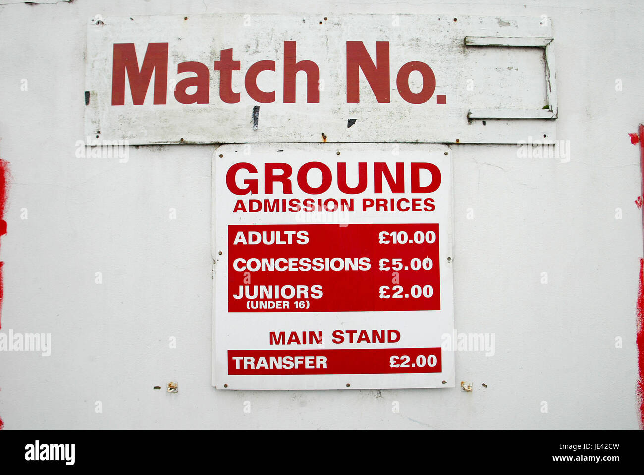 ADMISSION PRICES SCARBOROUGH FOOTBALL CLUB MCCAIN STADIUM SCARBOROUGH NORTH YORKSHIRE ENGLAND 15 January 2004 - Stock Image