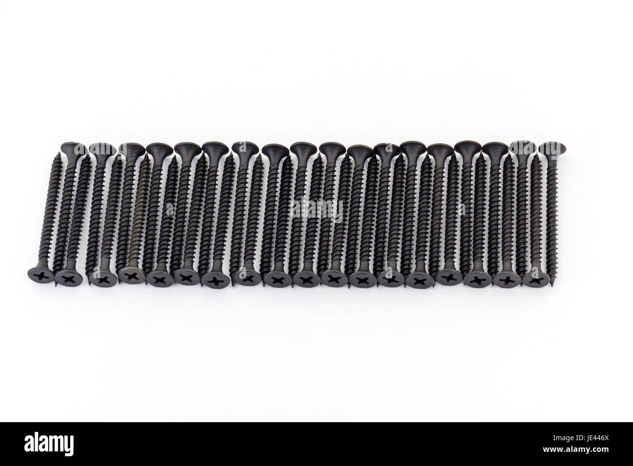 A raw of avarage black Oxidized self-tapping screws isolated on white background - Stock Image