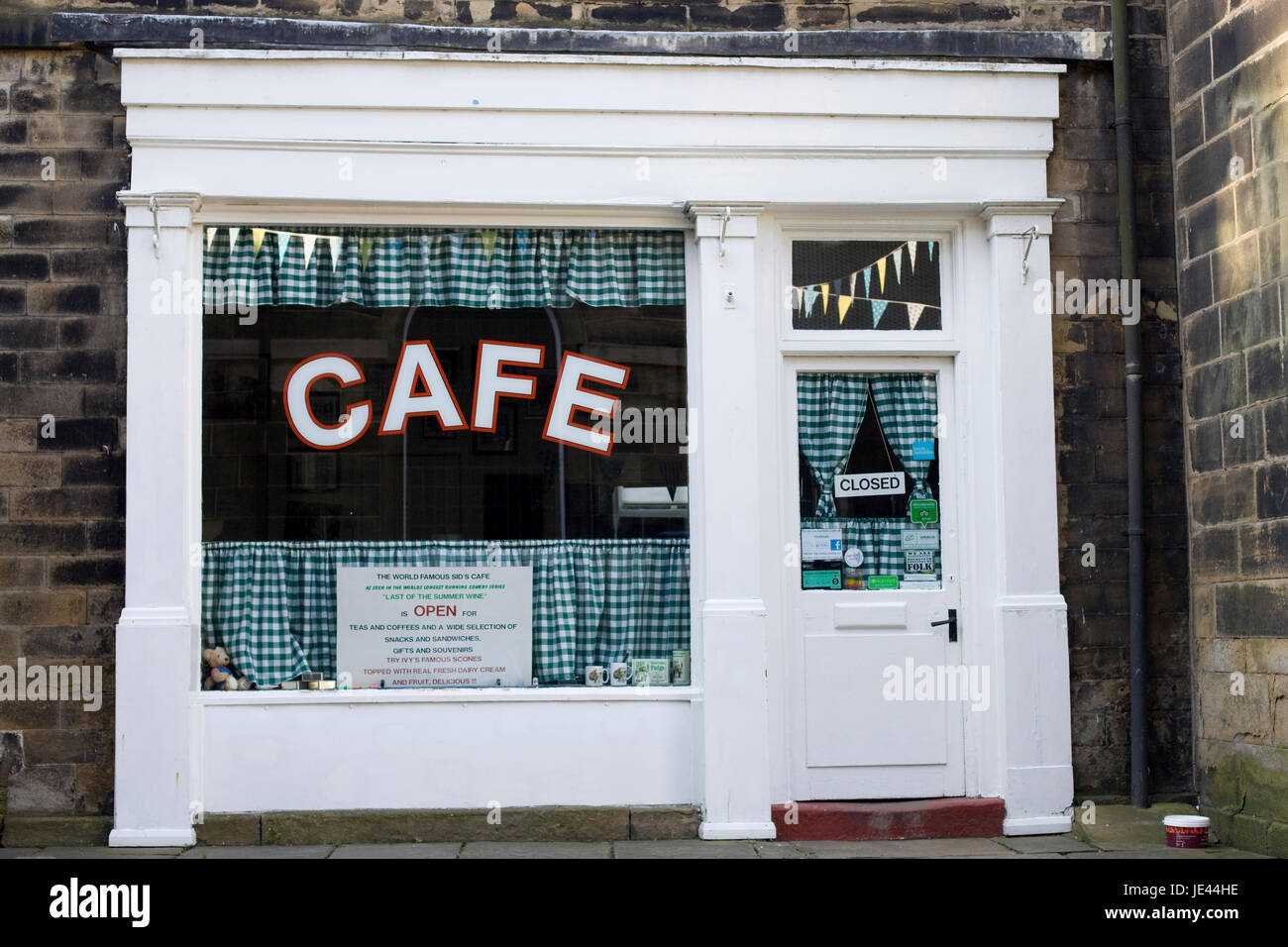 Sid's Cafe as featured in the TV series Last of the Summer Wine, Holmfirth Stock Photo