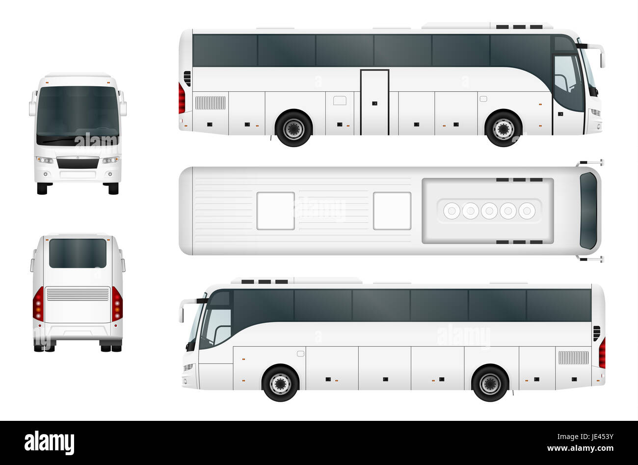 Bus Template Isolated On White Background All Elements In Groups On