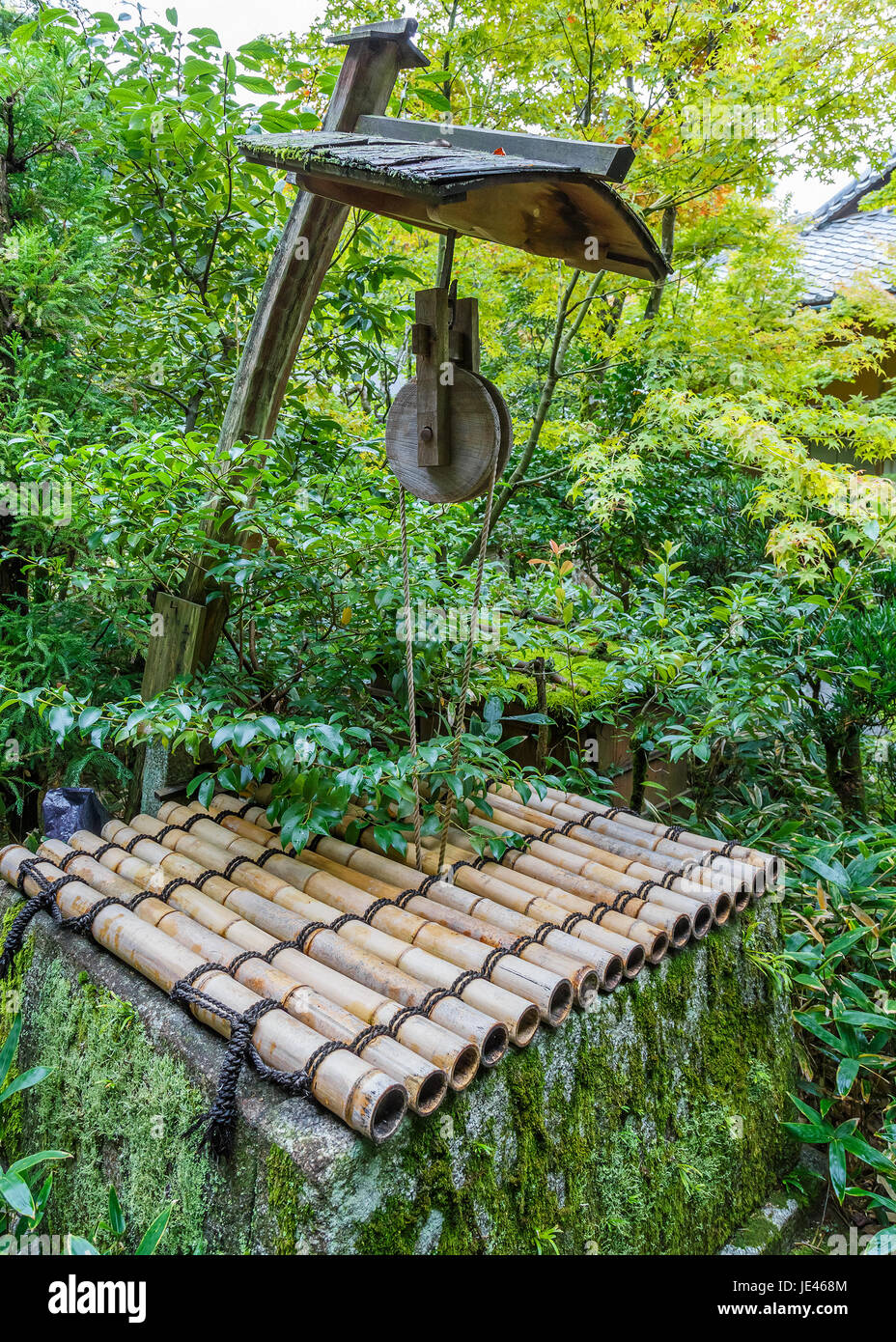 Japanese Pulley at Artesian wells in Koto-in Temple in Kyoto, Japan - Stock Image