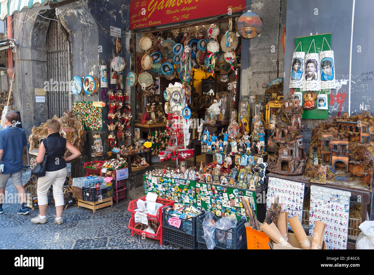 Traditional Cribs Shop in Naples, Saint Gregorio Armeno street,Nativity, and  with various ilariuos small statue. - Stock Image
