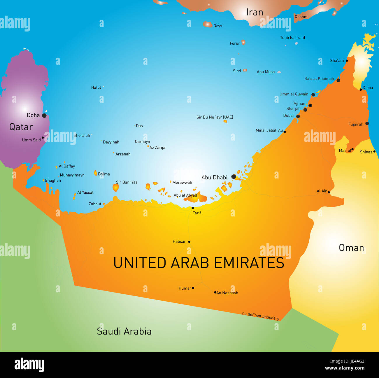 vector color map of united arab emirates