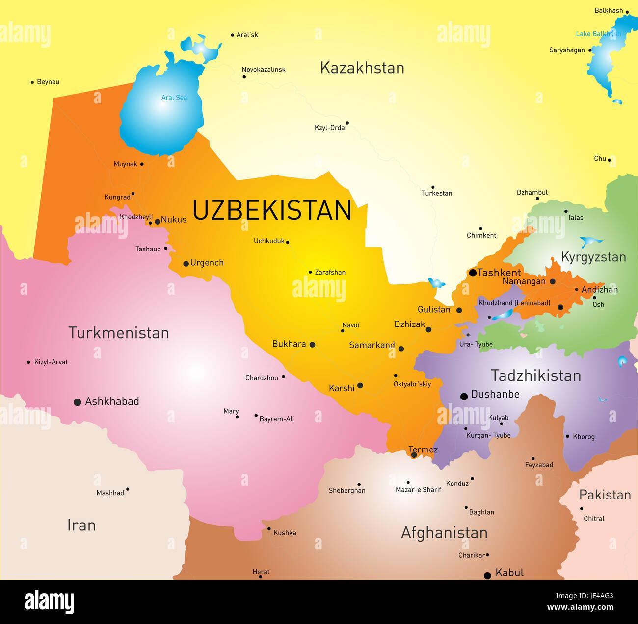 Image of: Vector Color Map Of Uzbekistan Stock Photo Alamy