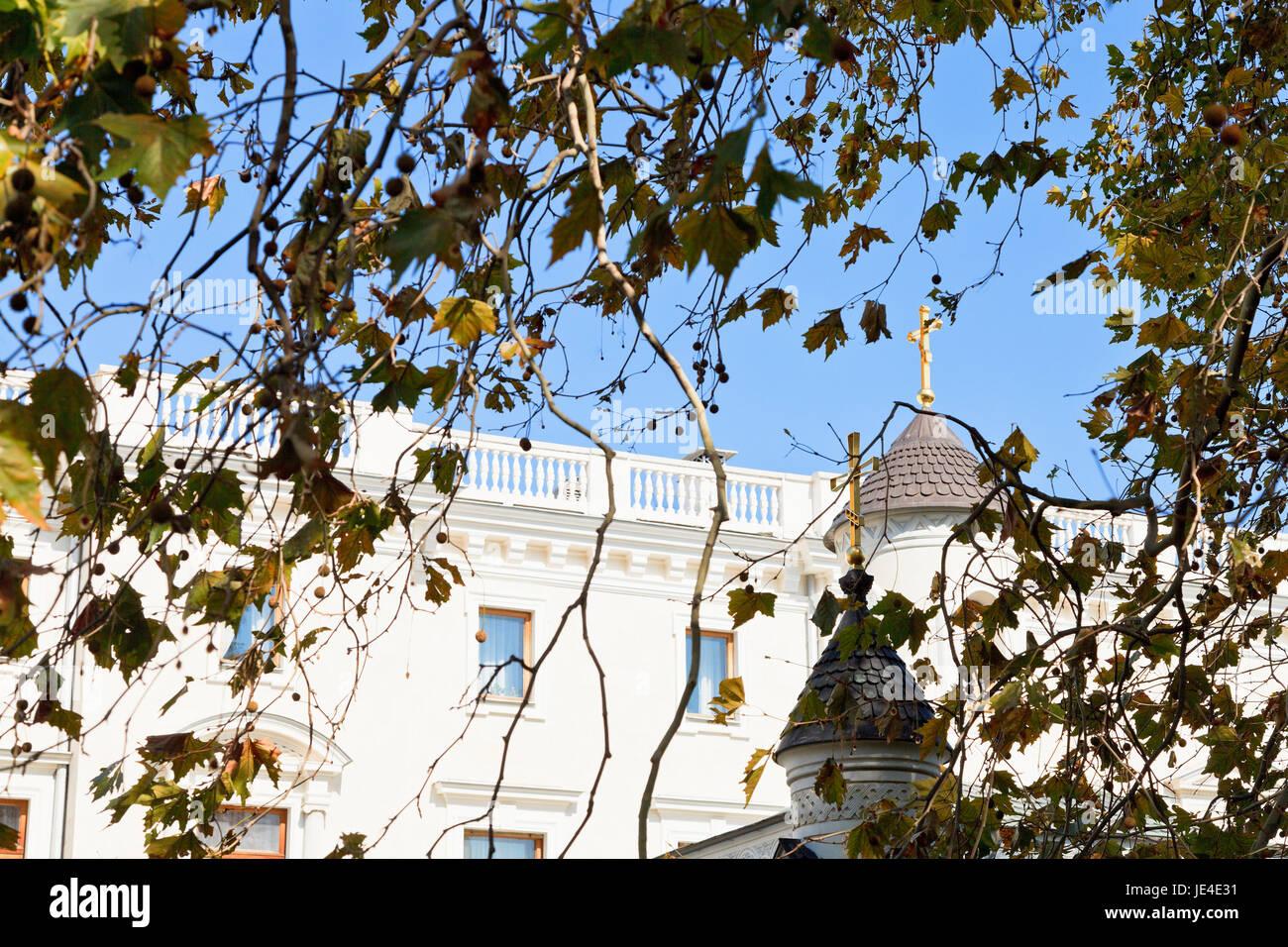 Livadiya Palace and Church in autumn day, Crimea - Stock Image