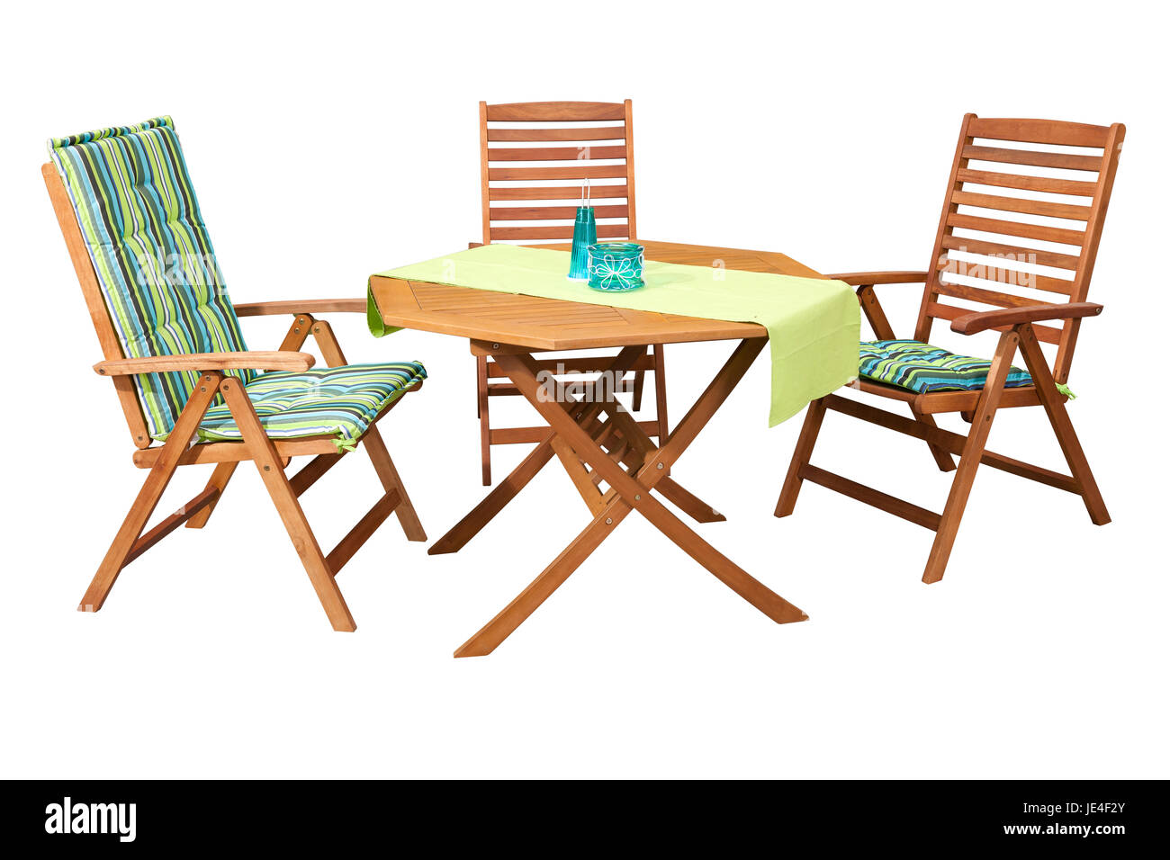 Set Of Folding Wooden Garden Furniture Table And 3 Chairs Isolated