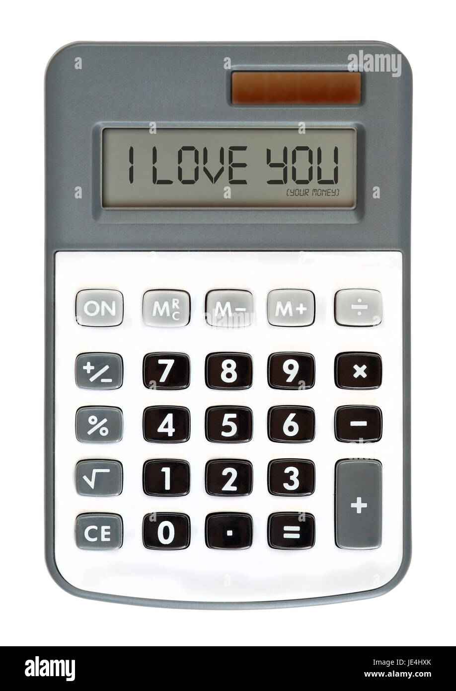 message on the display - money talks - I Love You - Stock Image
