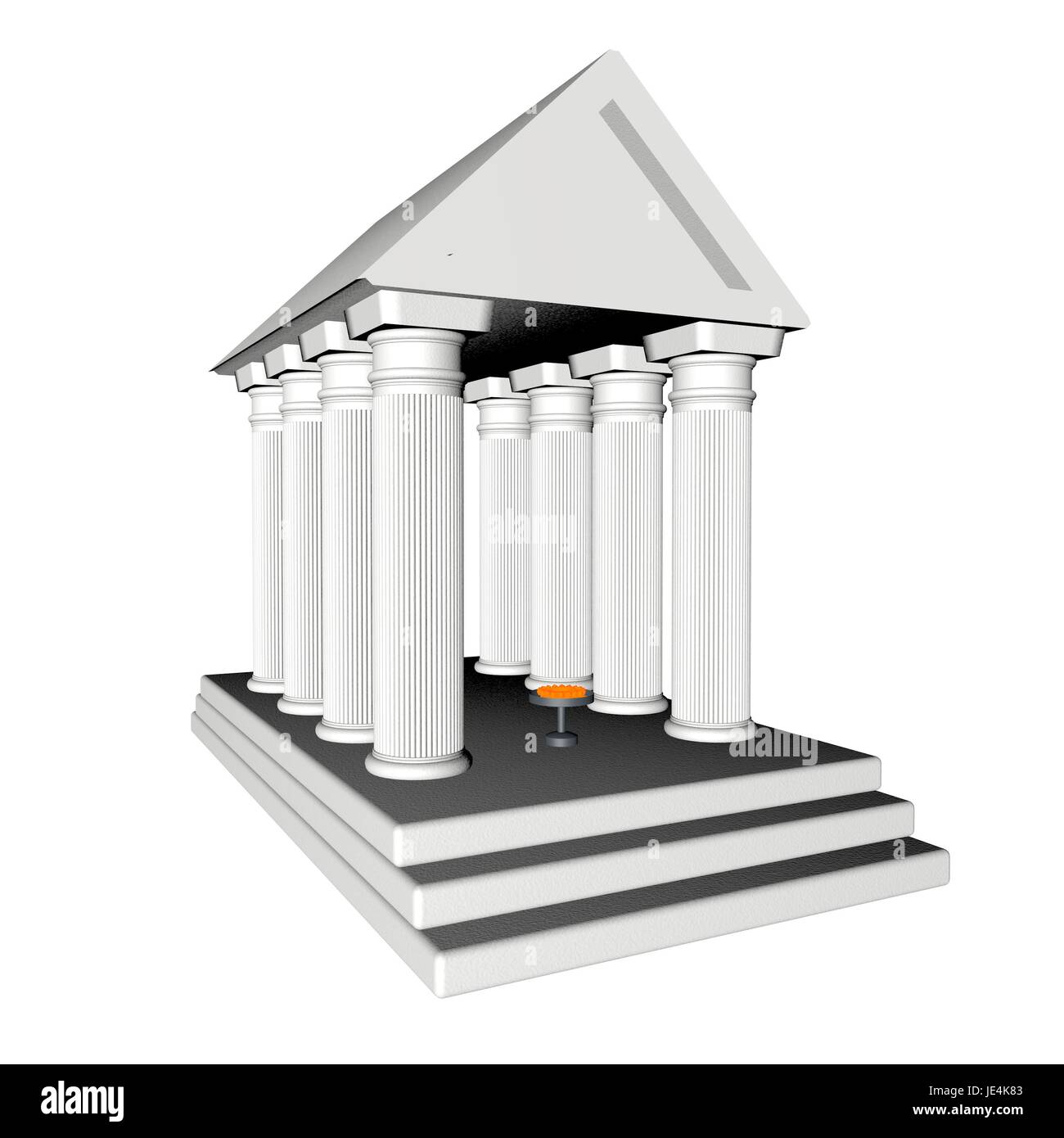White Greek temple isolated over white, 3d render - Stock Image