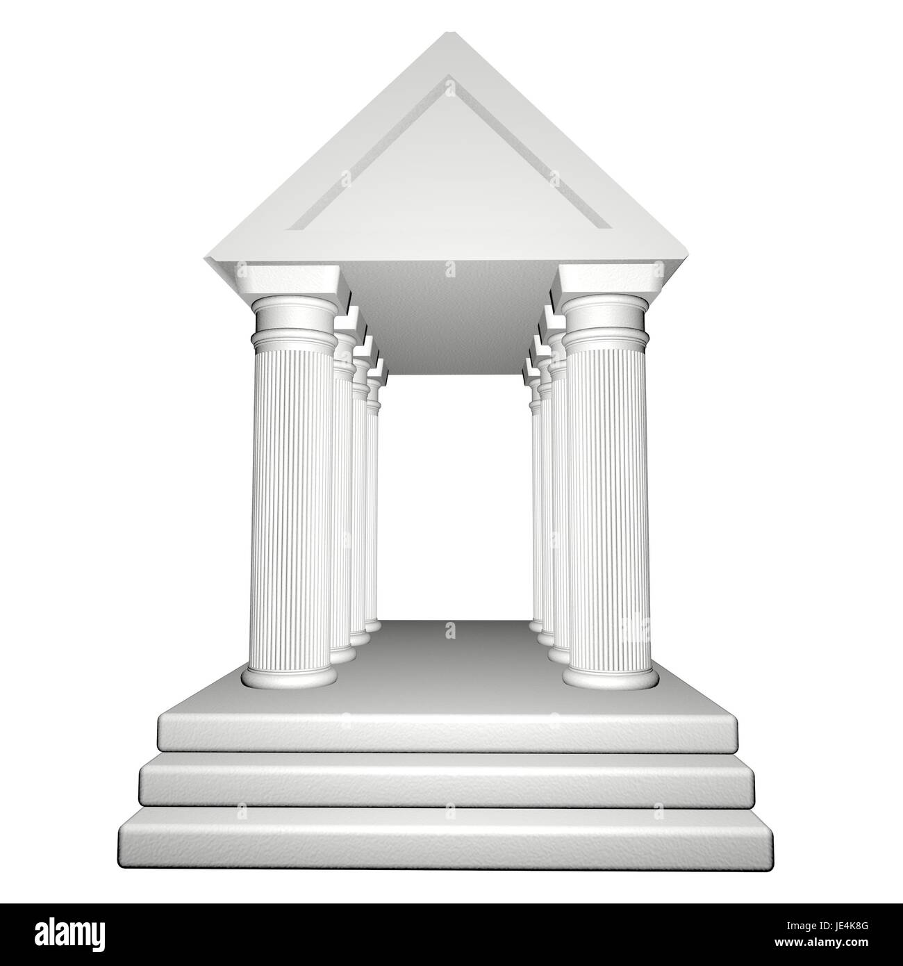 Greek Temple isolated over white, 3d render - Stock Image