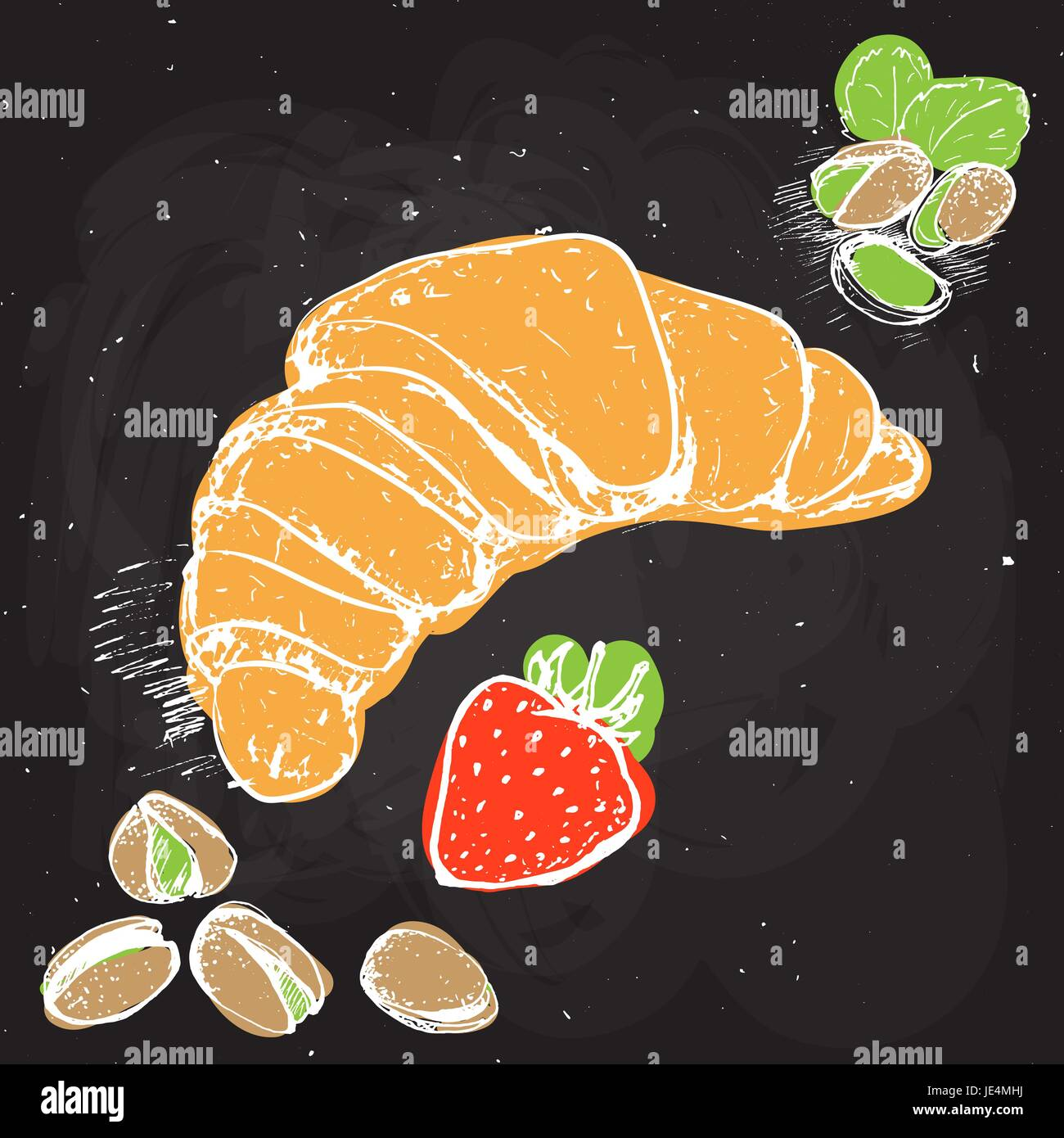 Croissant hand draw vector illustration with pistachio, strawberry. Croissand on black chalk board - Stock Image