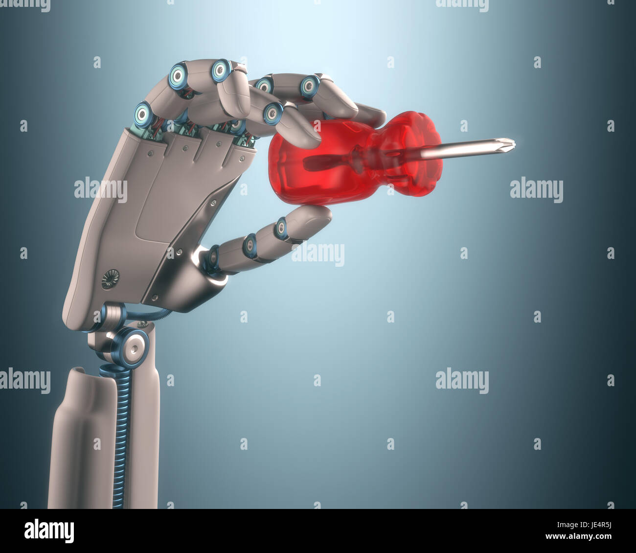 Robot hand holding a screwdriver on the concept of industrial automation. Clipping path included. Stock Photo
