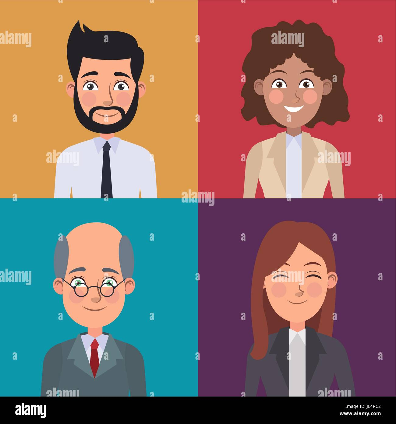 Colorful Sections Frame Set Of Half Body Business Men And Women Je Rc on Caricature Woman Executives