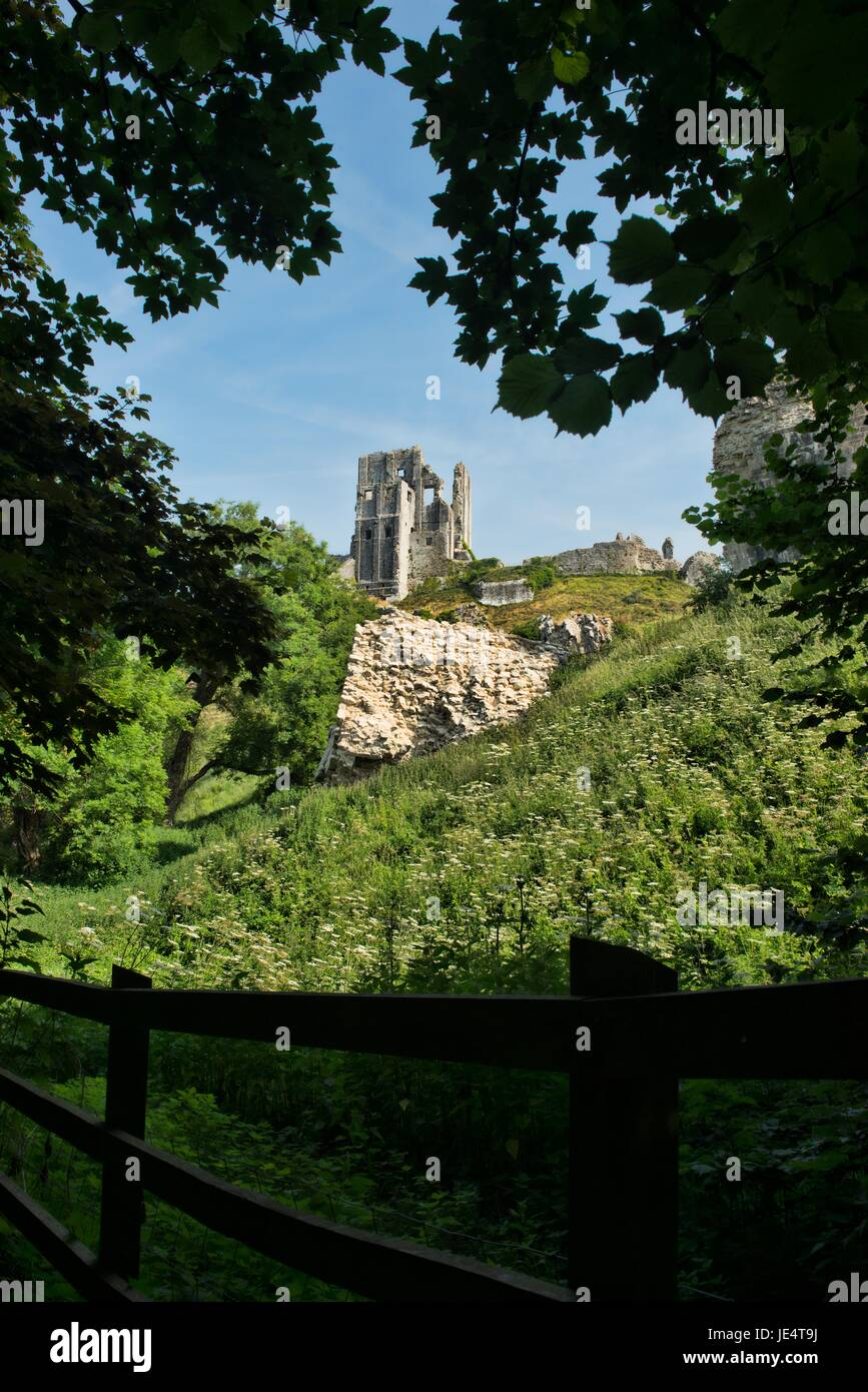 Corfe Castle in the Isle of Purbeck - Stock Image