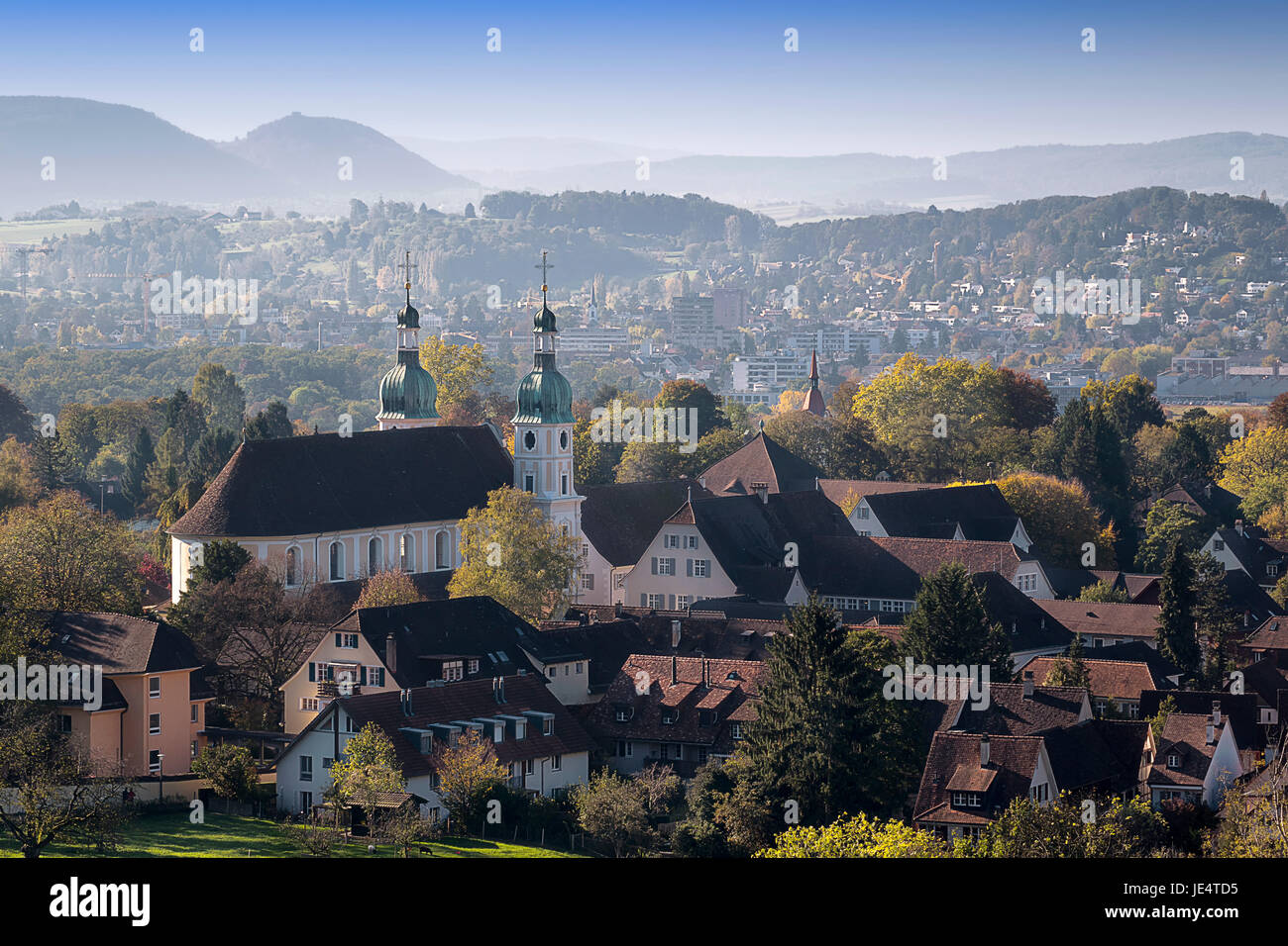 view from the hermitage to the cathedral of arlesheim Stock Photo
