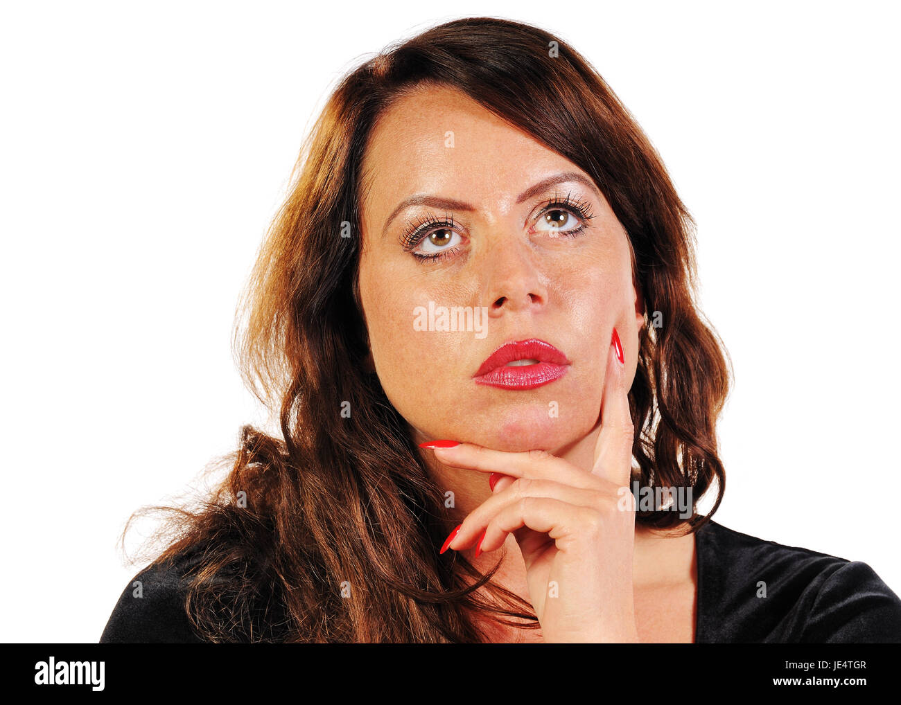 Frau denkt nach Stock Photo