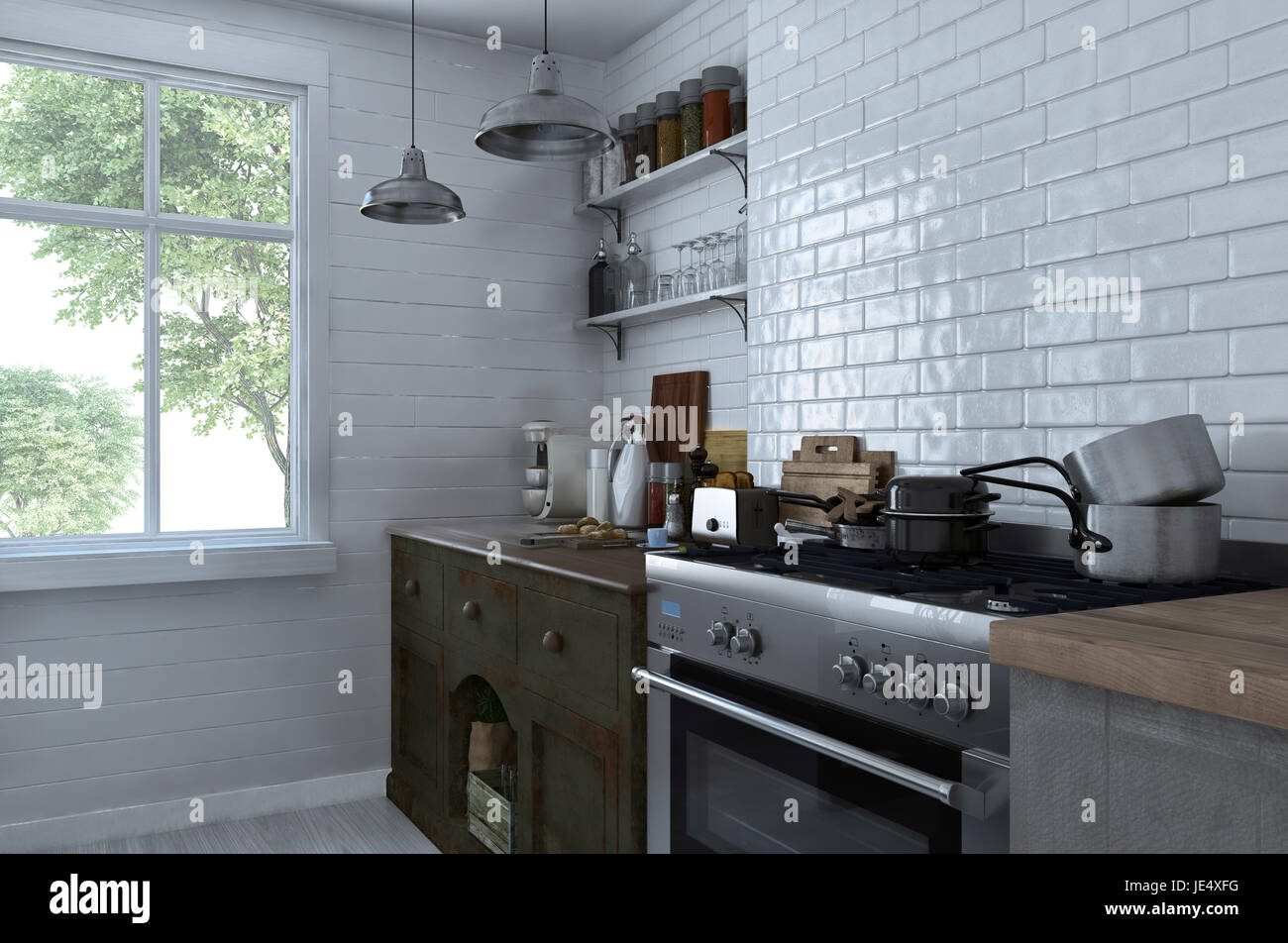 Small compact kitchen interior with stove and cabinets stacked with ...