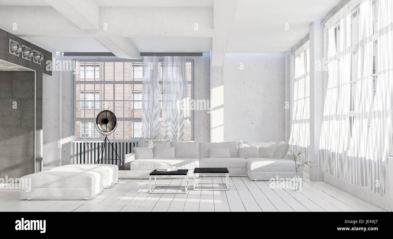Bright airy cool monochromatic white living room interior with many large windows ottomans, modular lounge suite Stock Photo