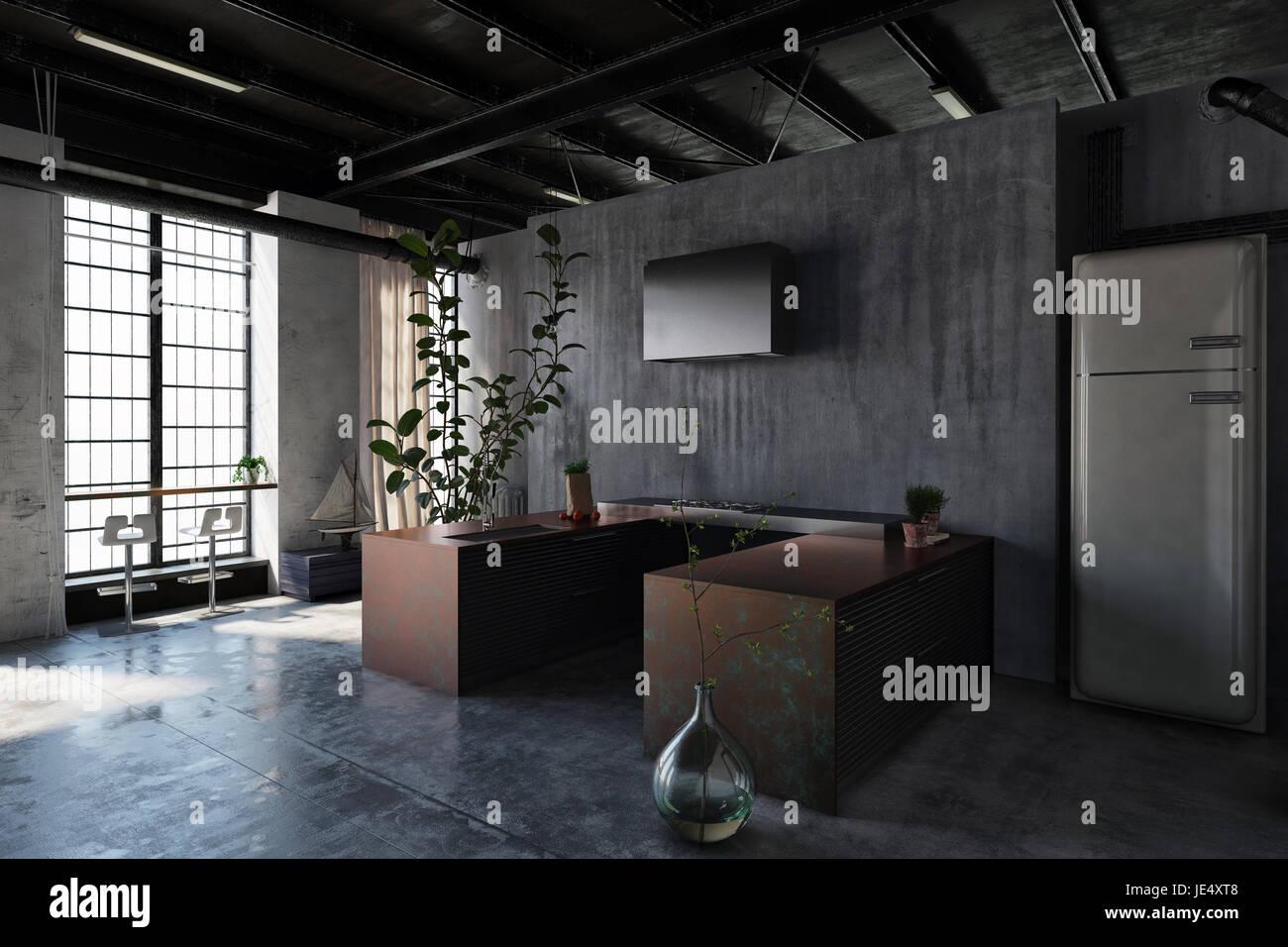 Dark interior of modern minimalist design kitchen in loft style