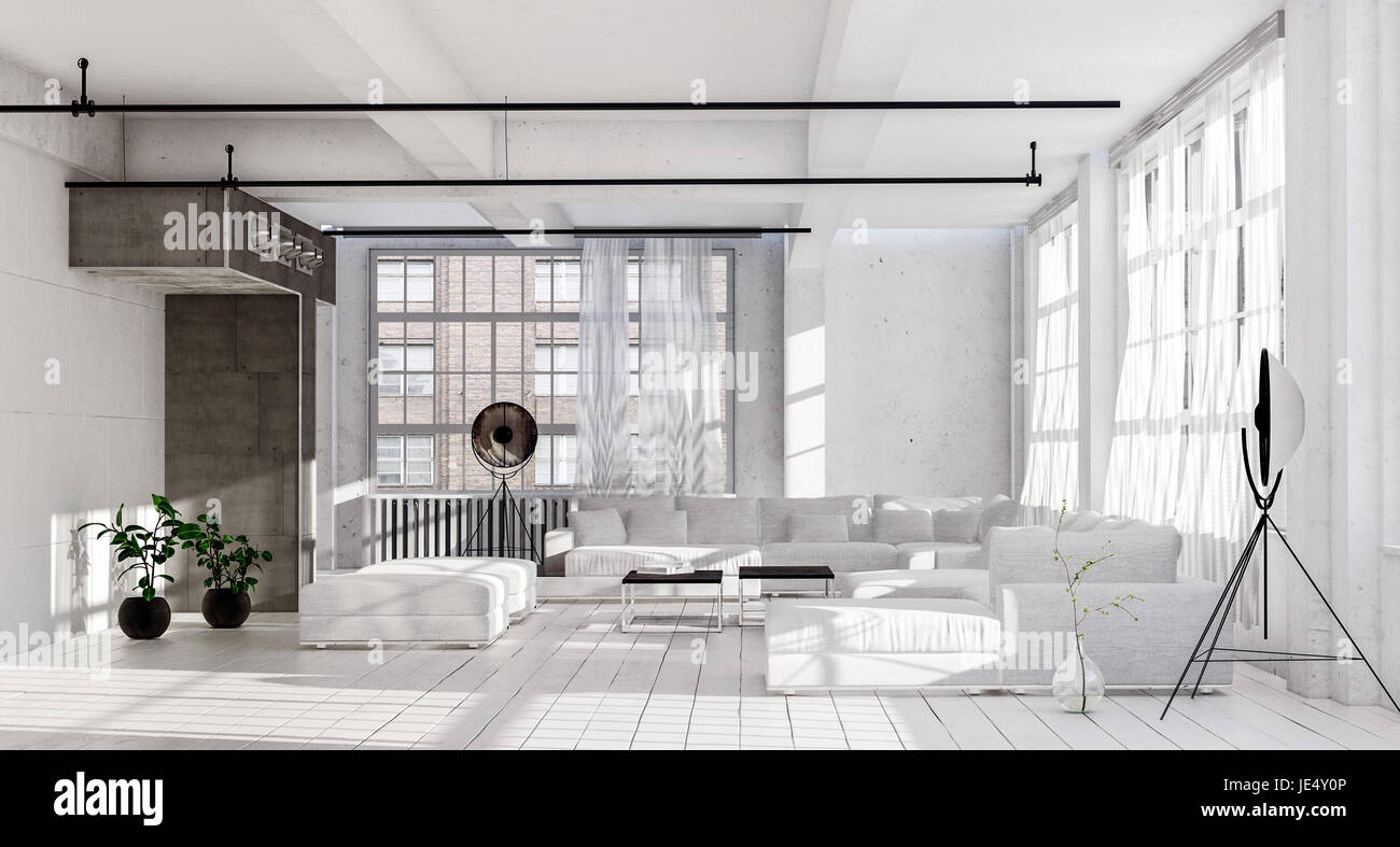 Spacious living room in white minimalist interior design, with white ...