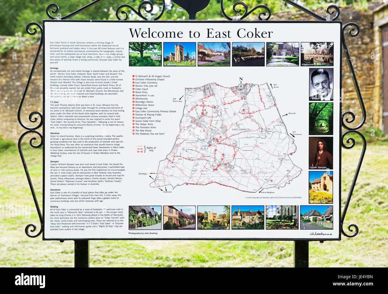 Map Of England Villages.Map And Information Panel About The Village Of East Coker Somerset