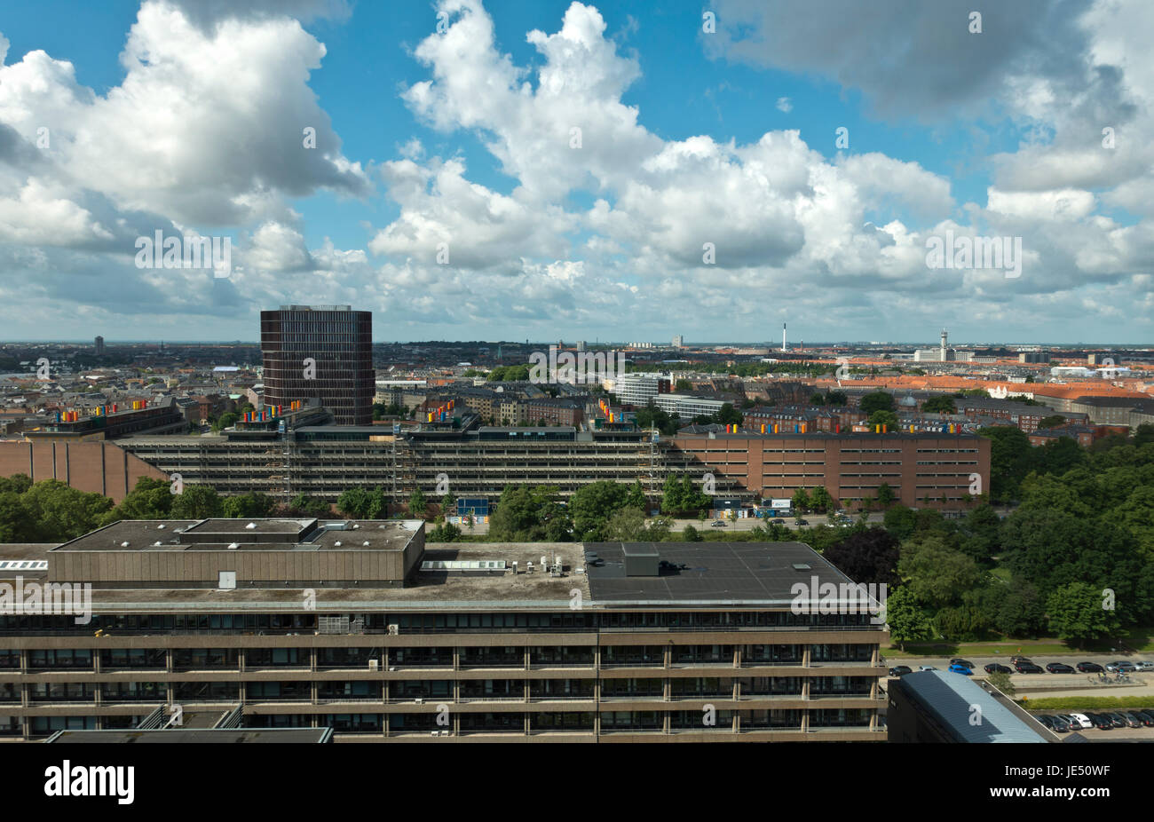 View from 16th floor in the National Hospital, Copenhagen. The Panum Institute, the Maersk Tower. Then Nørrebro, - Stock Image