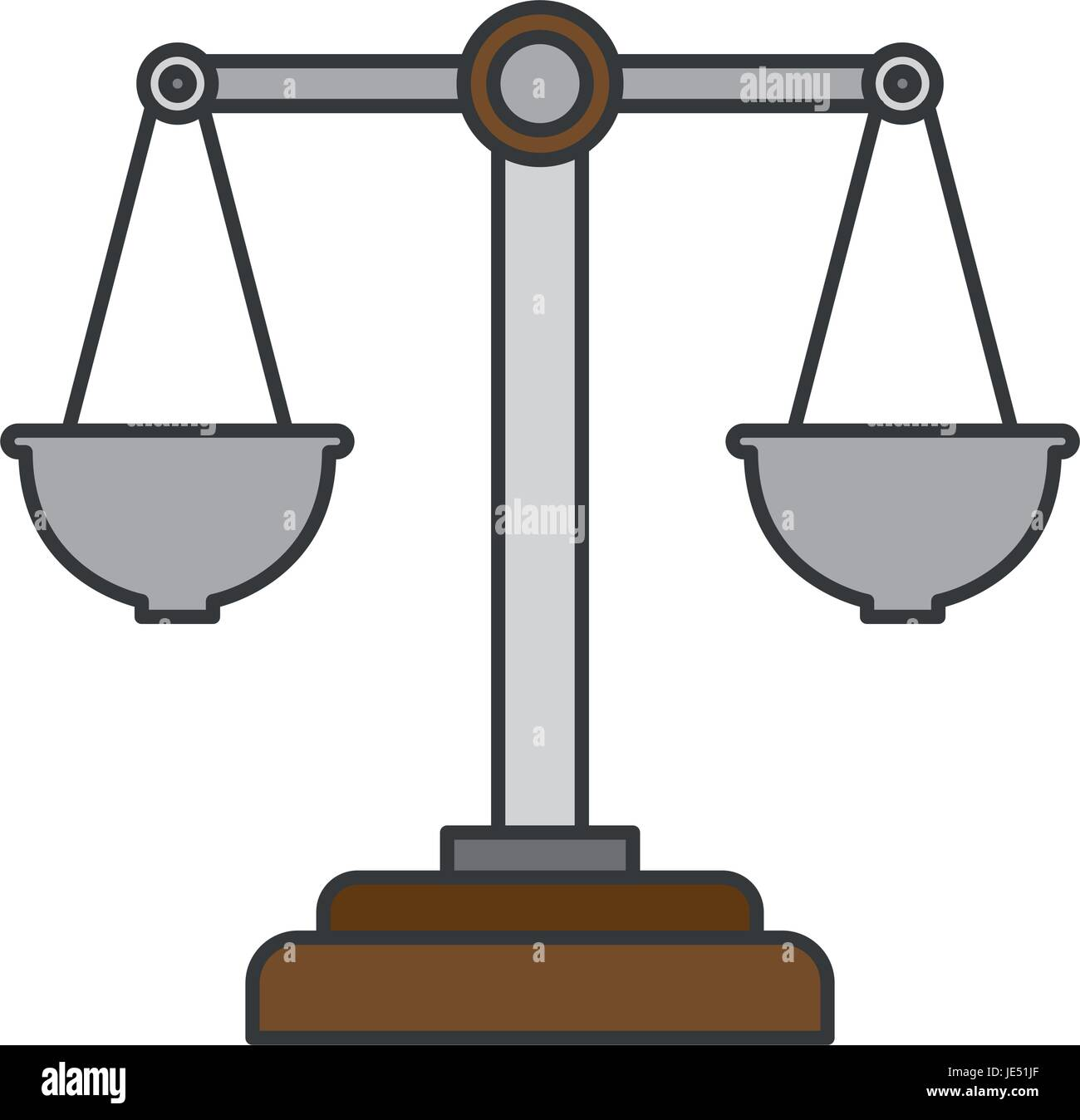 colorful silhouette of justice scales - Stock Vector