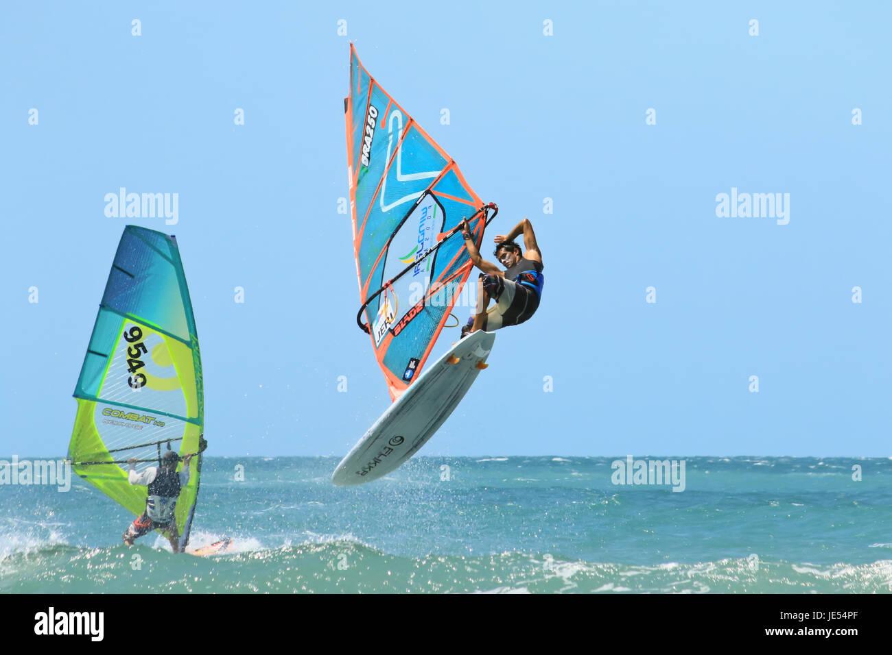 JERICOACOARA.CEARA/BRASIL - CIRCA DECEMBER 2016: windsurfer sportmen Advan Souza makes trick at the water - Stock Image