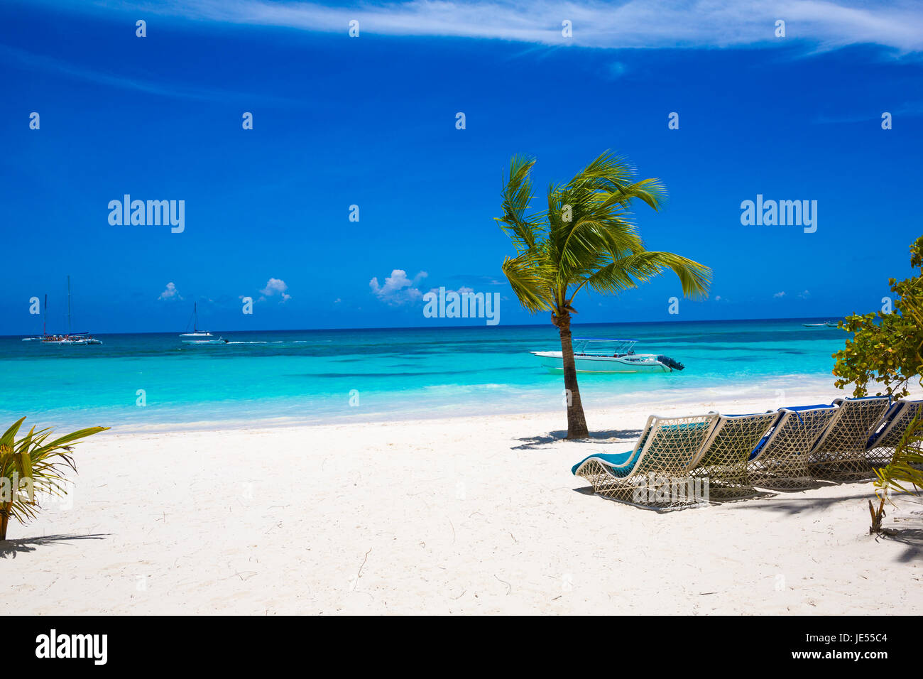 Sunbed on topical beach ,Beach chairs on sand - Stock Image