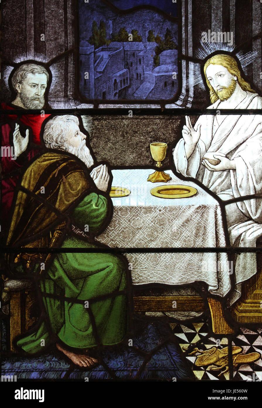 Stained Glass Window In Caerhun Church, Conwy Valley, Wale Stock Photo