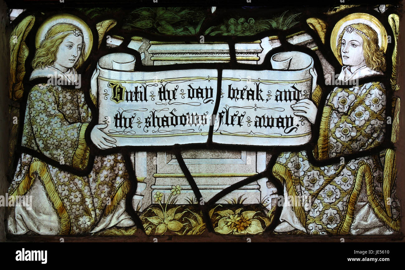 Verse from the 'Song Of Solomon' Stained Glass Window - Stock Image