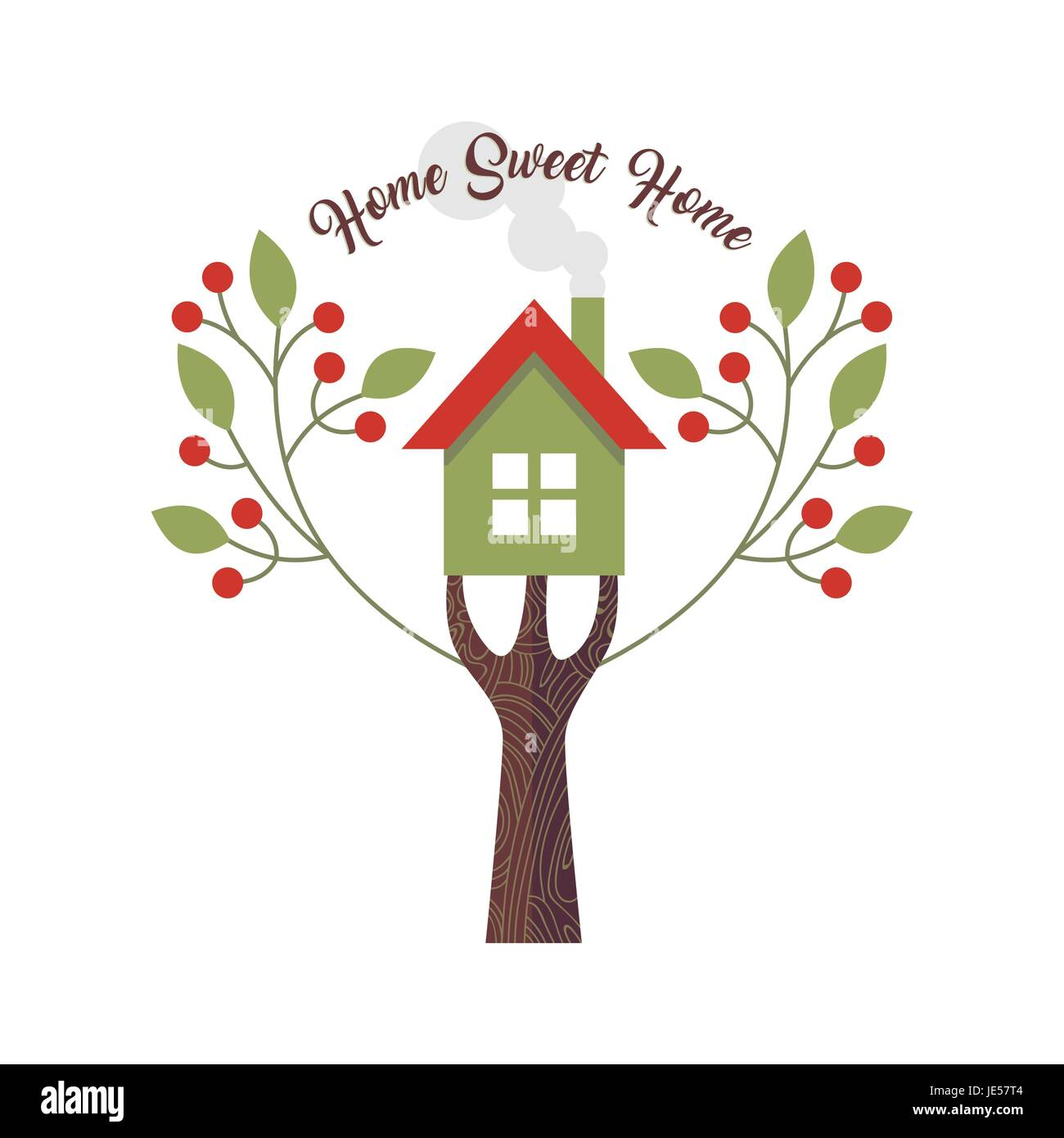 Home sweet home love quote design with concept illustration of house and tree. EPS10 vector. - Stock Vector