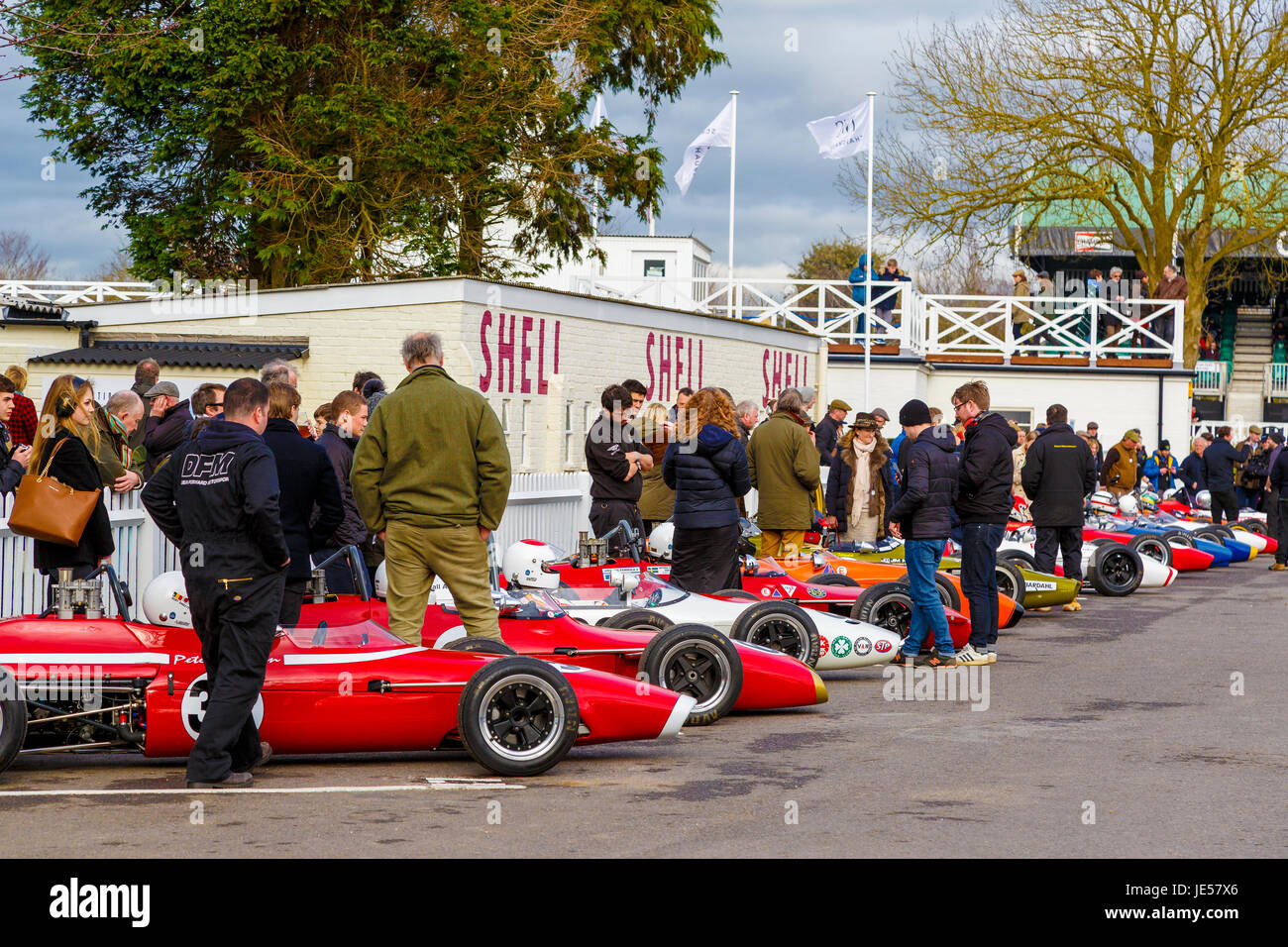 Formula 3 cars from the 1960's gathered in the holding paddock for the Derek Bell Cup race at Goodwood GRRC - Stock Image