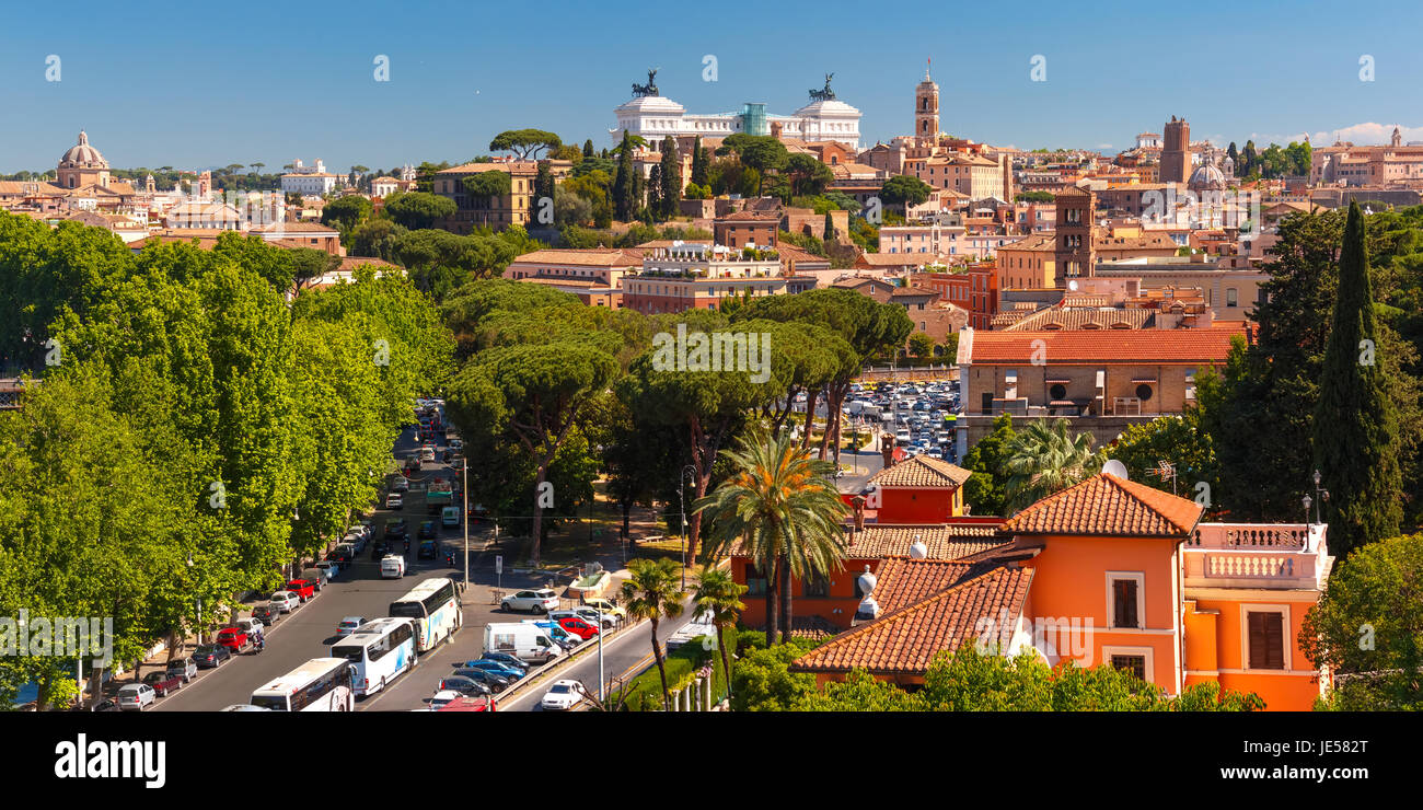 Panoramic aerial view of Rome, Italy - Stock Image