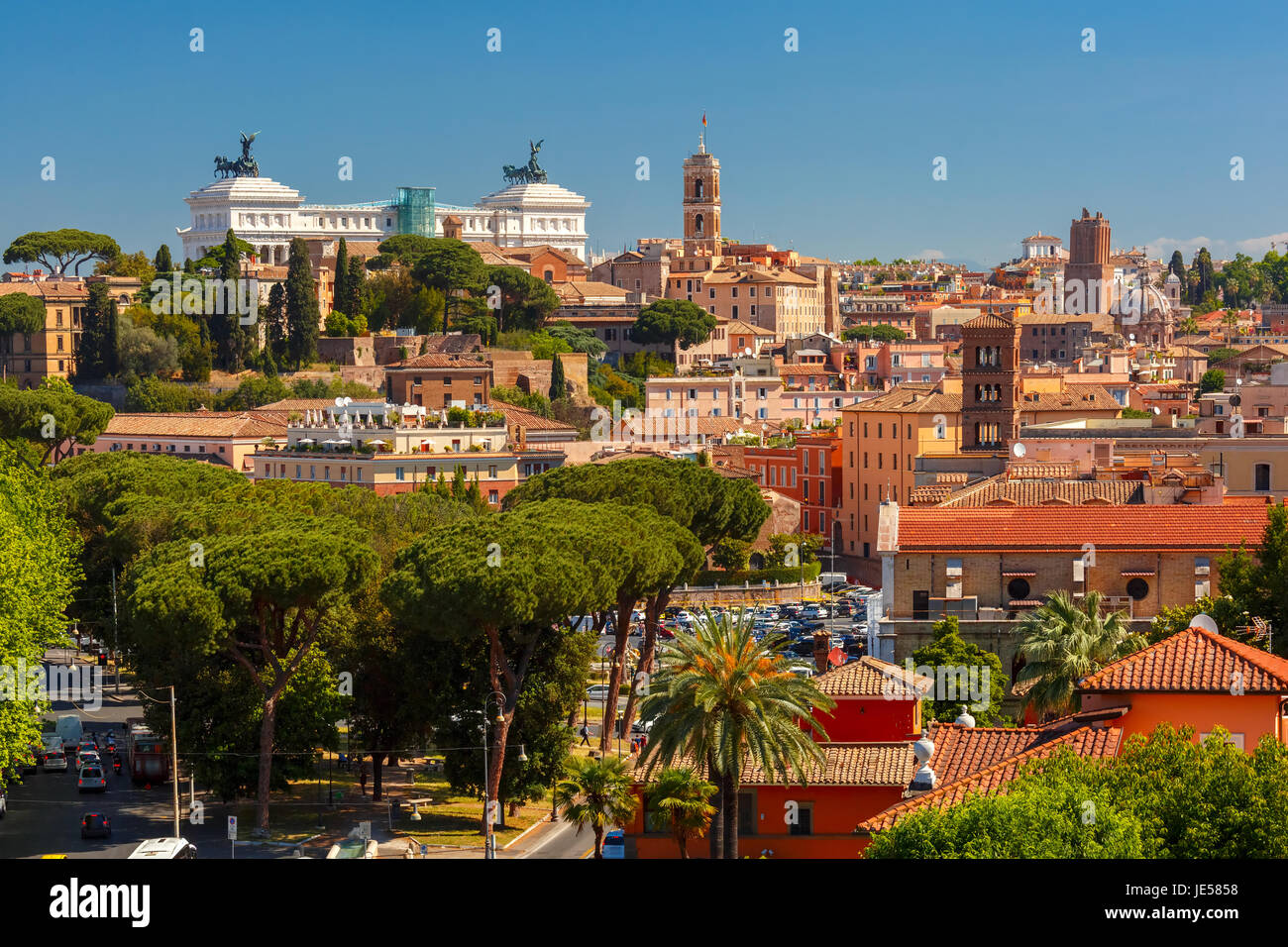 Aerial view of Rome, Italy - Stock Image
