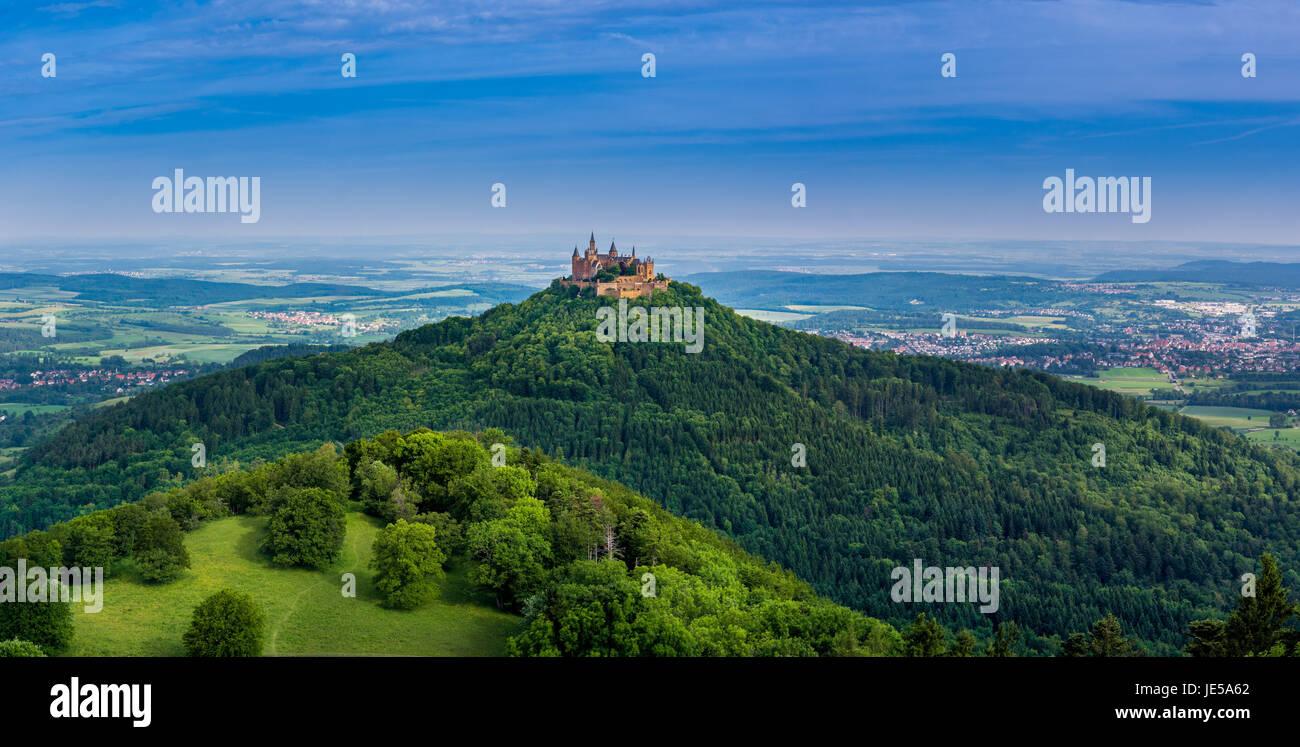 Burg Hohenzollern Castle, Swabian Alp, Baden-Wuerttemberg, Germany, Europe Stock Photo