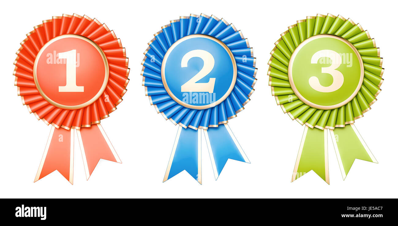 Set of winning awards, medals or badges with ribbons. 3D rendering - Stock Image