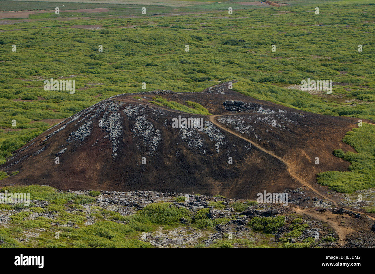 long extinct cinder cone with hiking path on Iceland's Snaefellsness peninsula, a couple of hours north of Reykjavik. - Stock Image