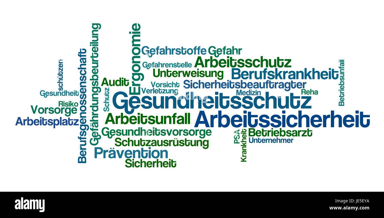 Word Cloud - Gesundheitsschutz und Arbeitssicherheit Stock Photo