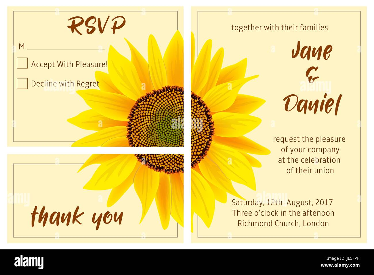 set of wedding invitation card sunflower on the background 3 in 1 poster invitation greeting business card for decoration packing wrapping pri
