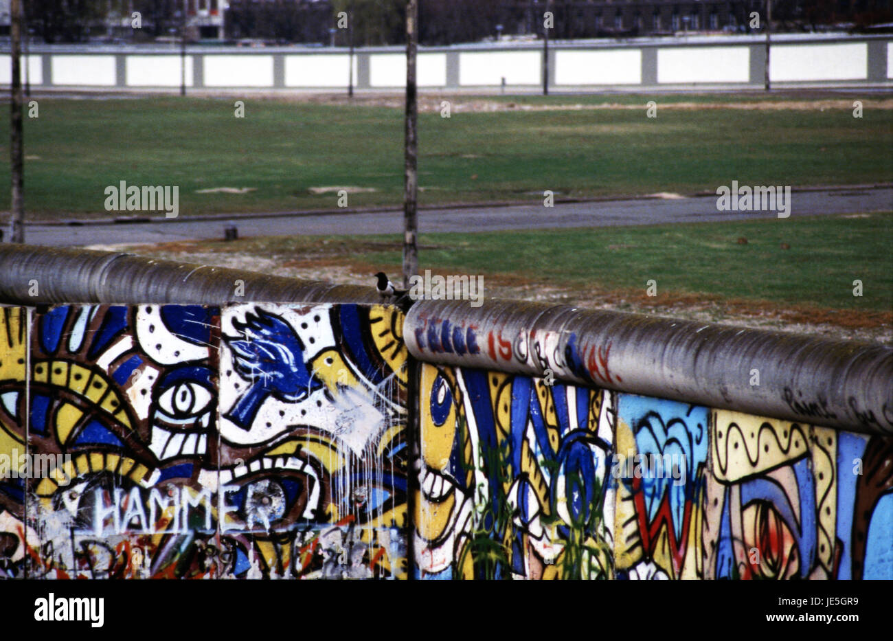 Looking over the Berlin Wall into Potsdamer Platz 1980's - Stock Image