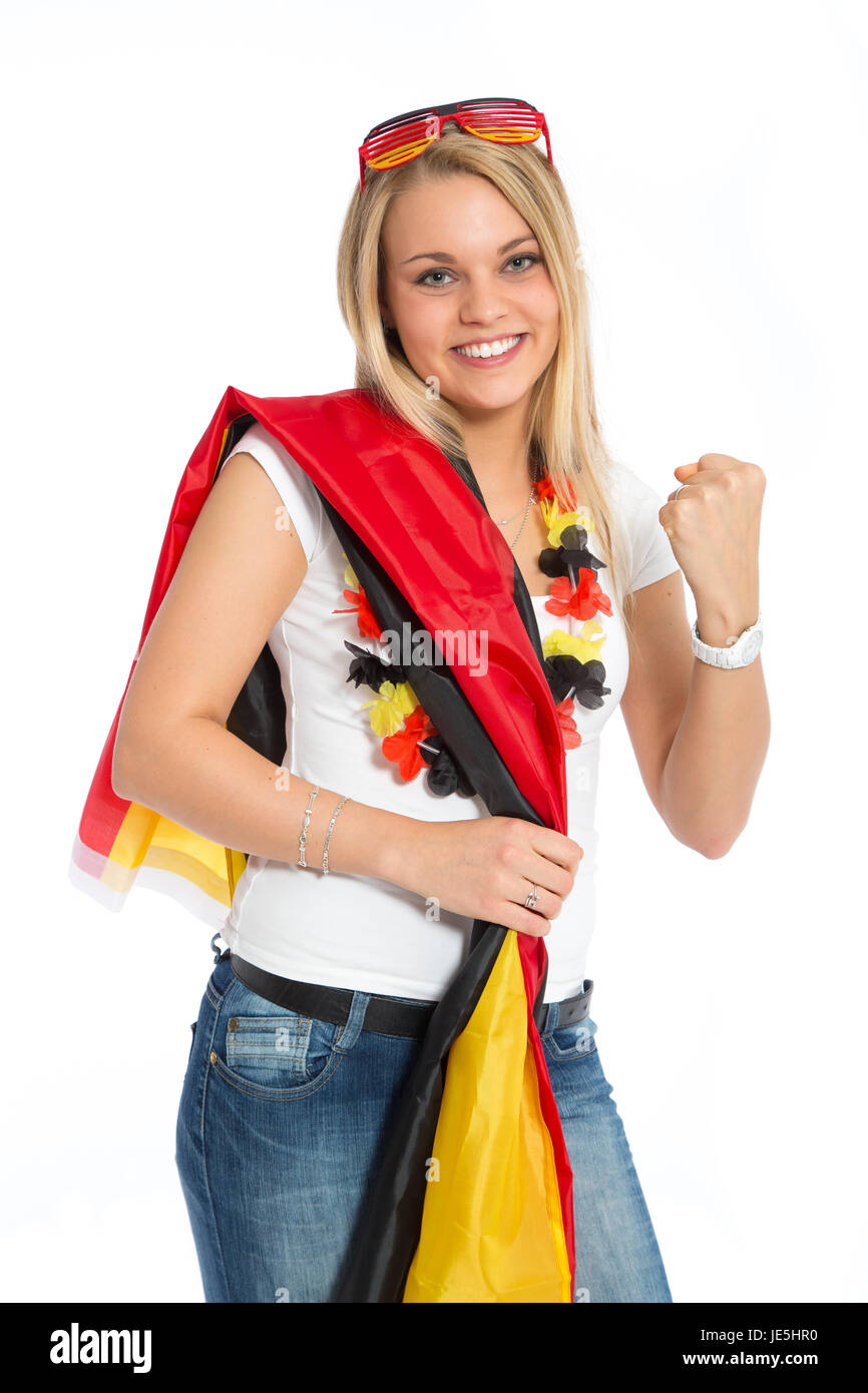 woman cheering in soccer - Stock Image
