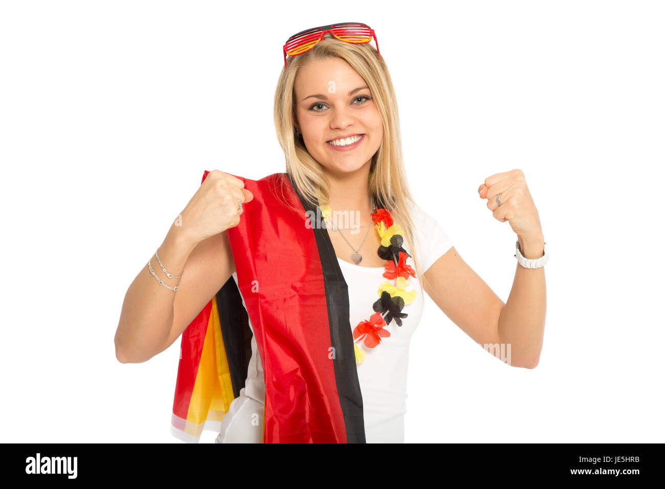 blonde woman cheering in germany game - Stock Image