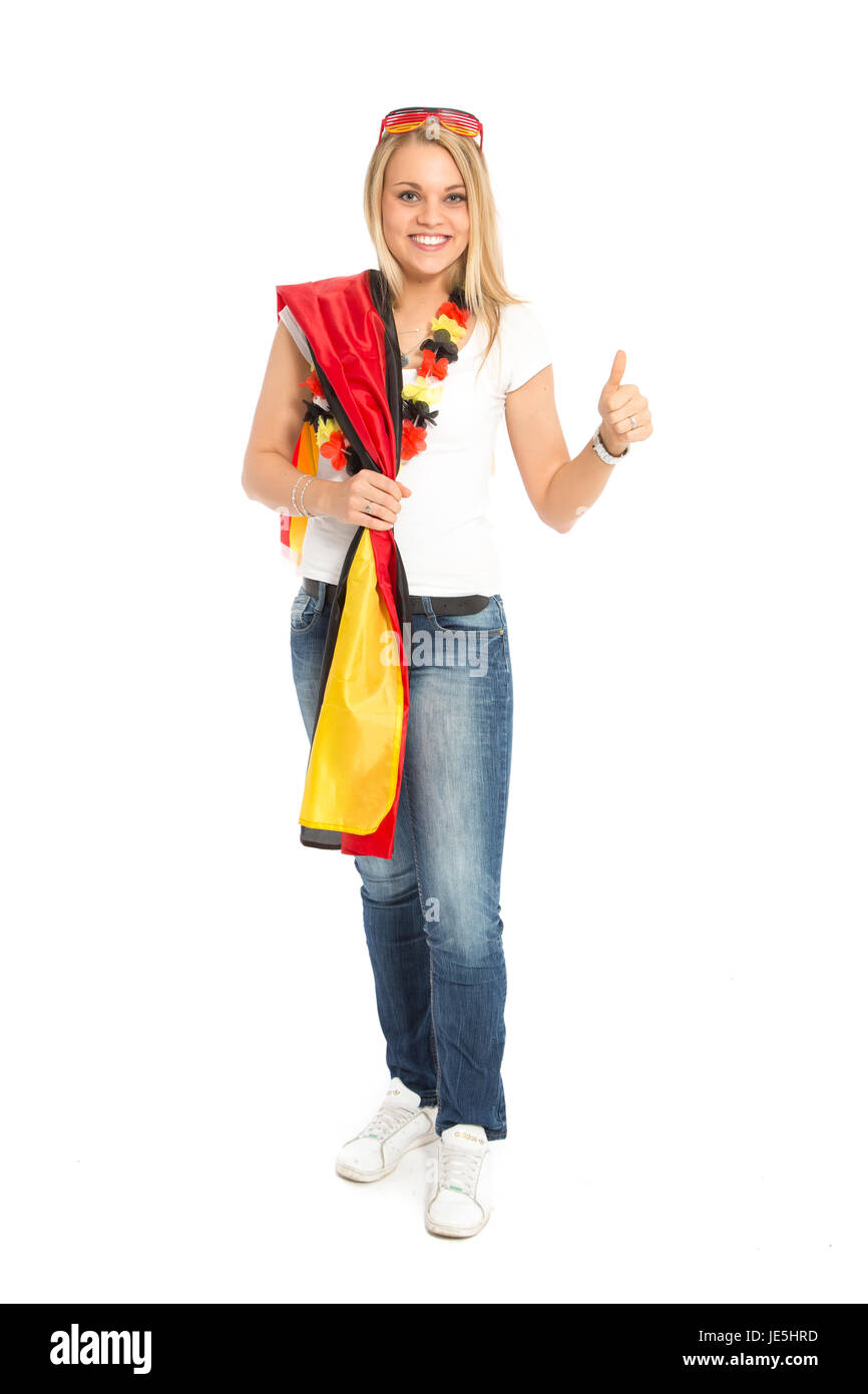 pretty woman in a fan-outfit - Stock Image