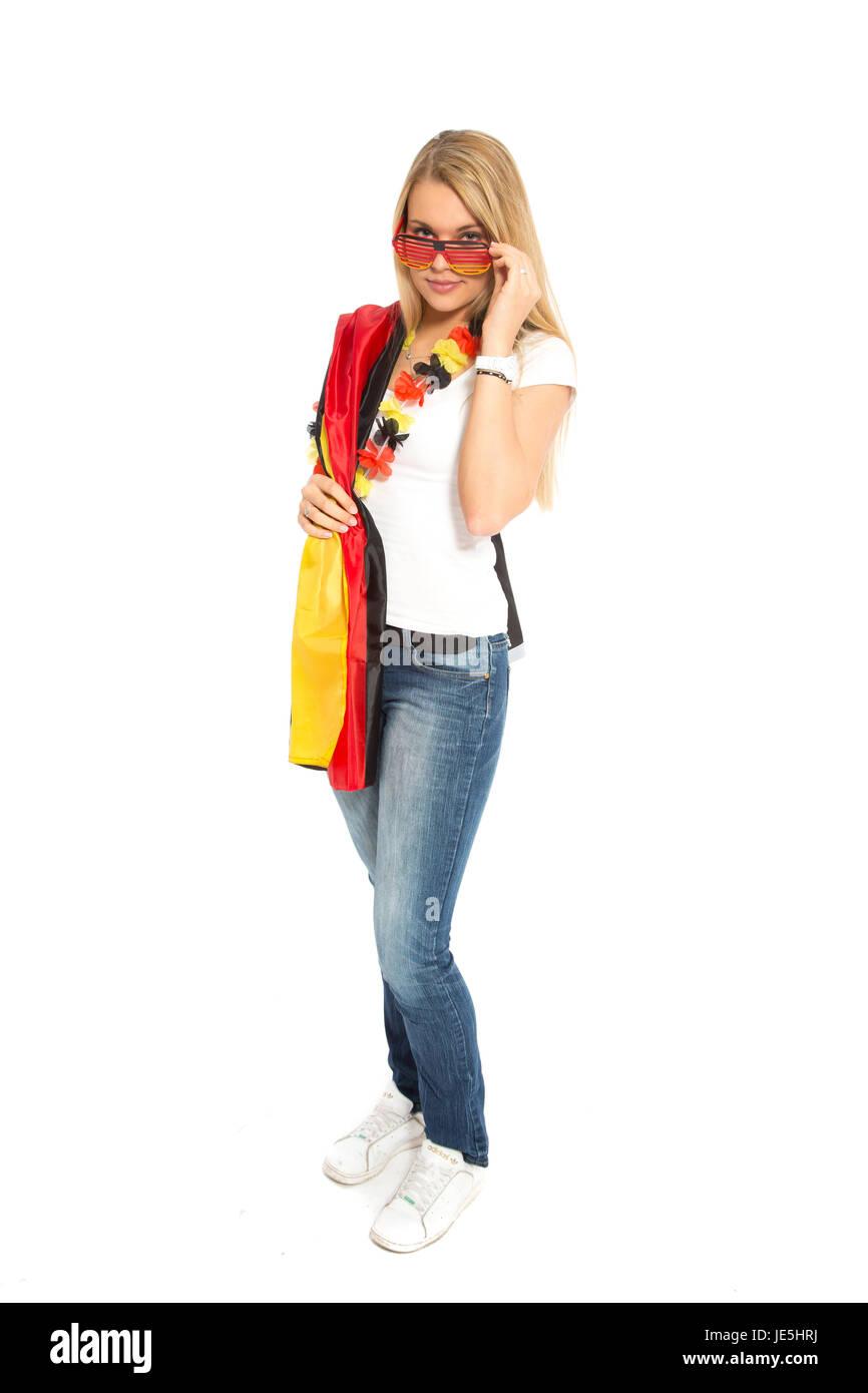 blonde woman as deutschlanbd fan - Stock Image