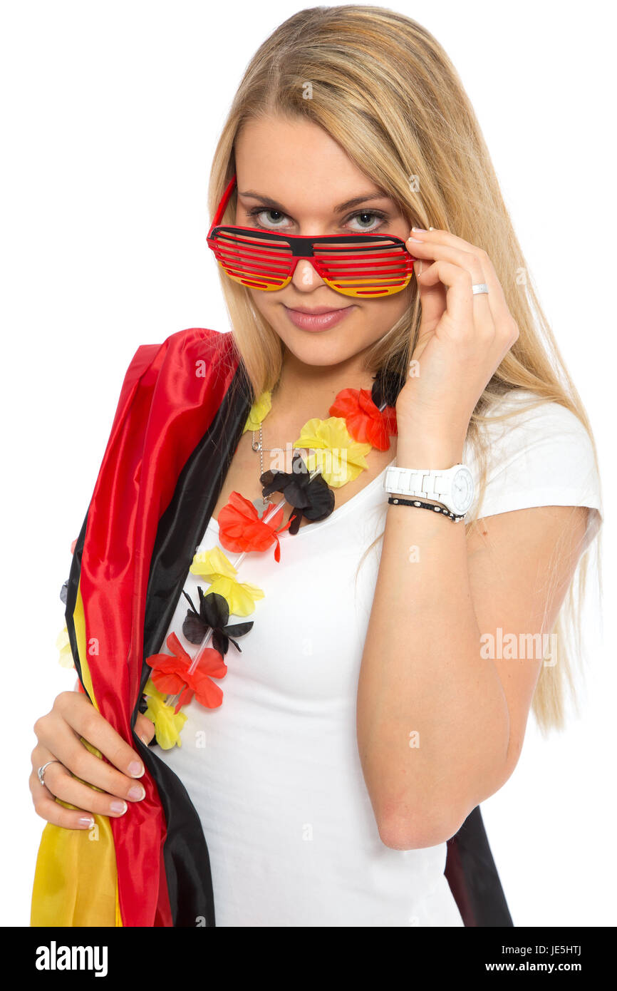 attractive young woman as germany fan - Stock Image