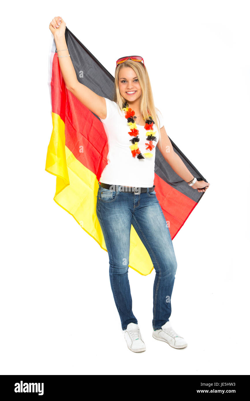 woman with germany flag - Stock Image
