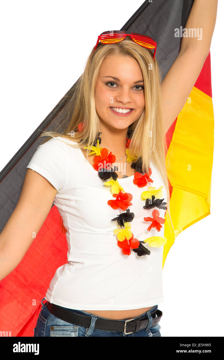 female soccer fan germany with flag - Stock Image