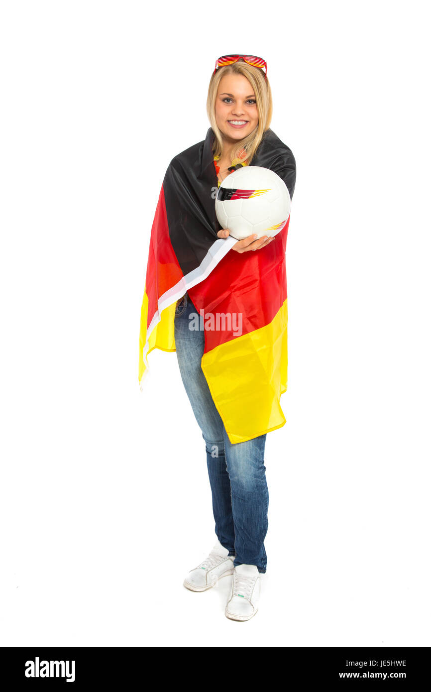 woman with leather ball and germany flag - Stock Image