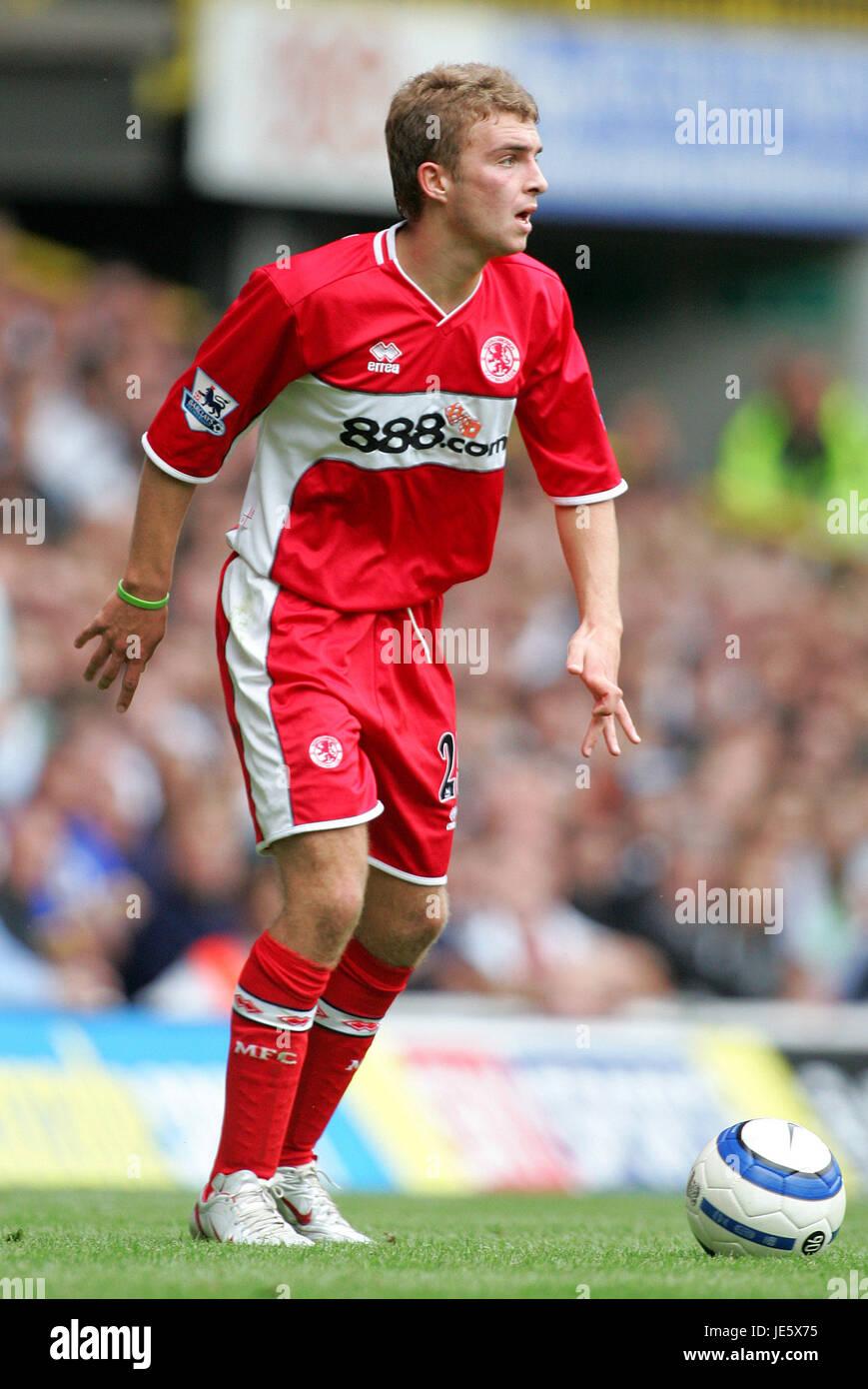 JAMES MORRISON MIDDLESBROUGH FC WHITE HEART LANE TOTTENHAM 20 August 2005 - Stock Image